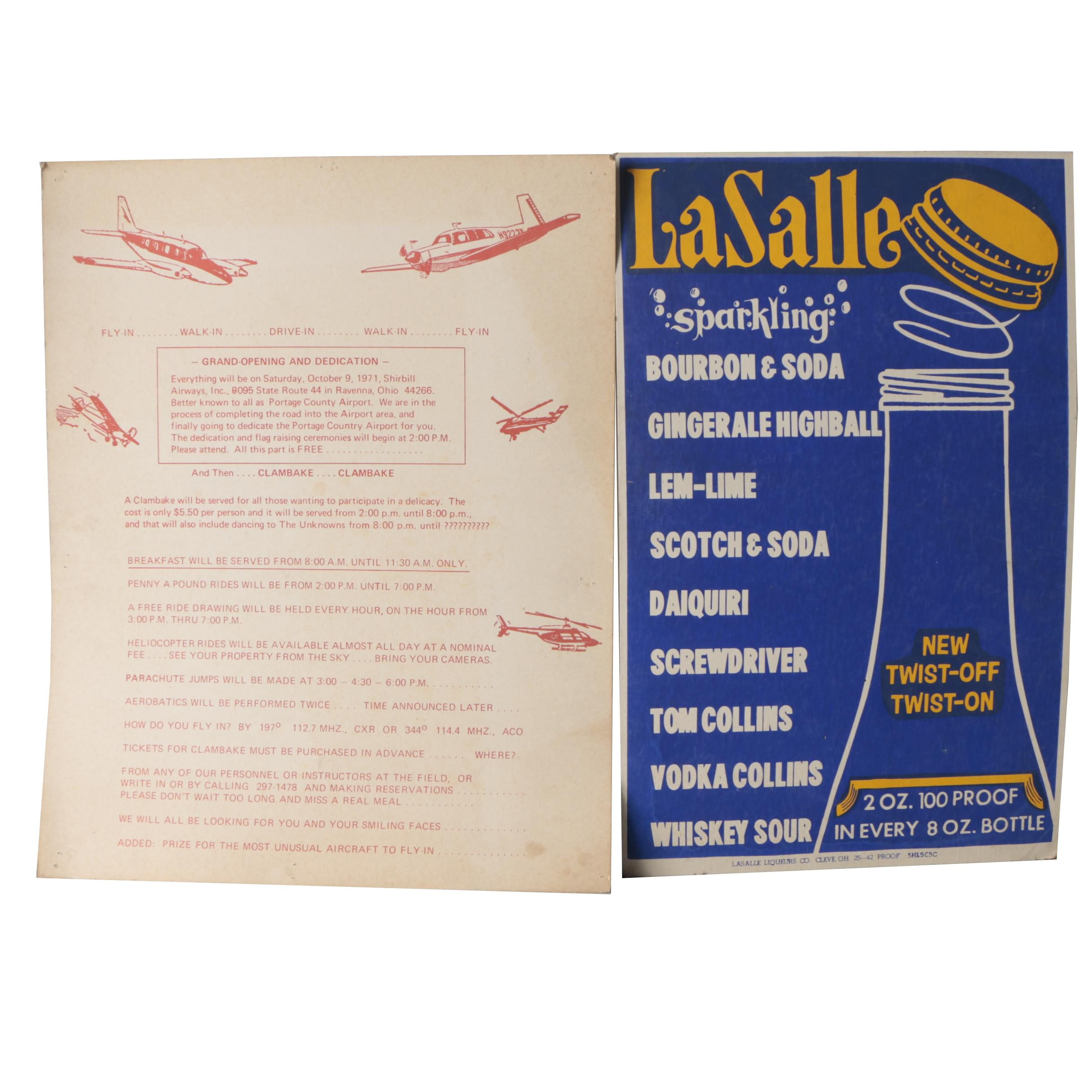 Portage County Airport Dedication Celebration and La Salle Sparkling Posters