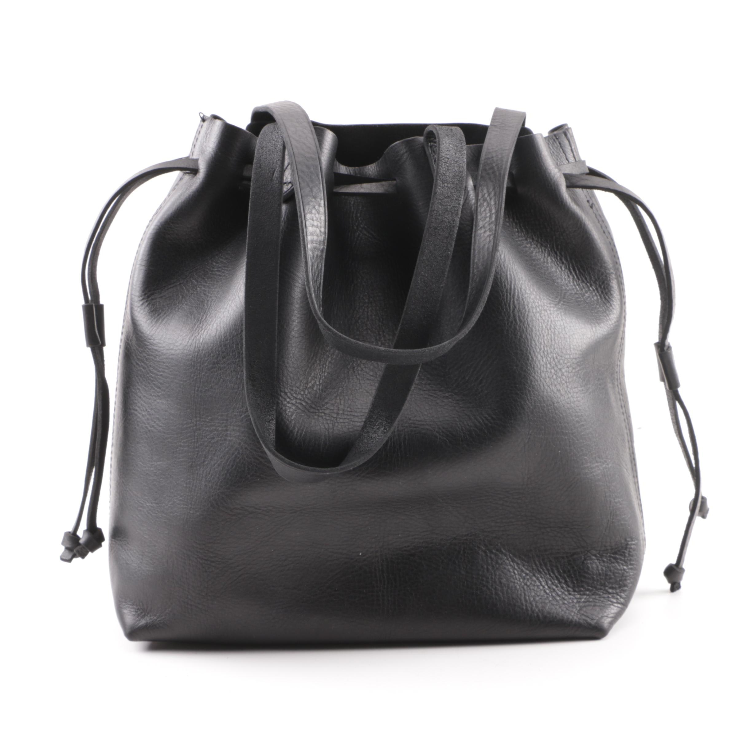 Madewell Black Leather Convertible Tote