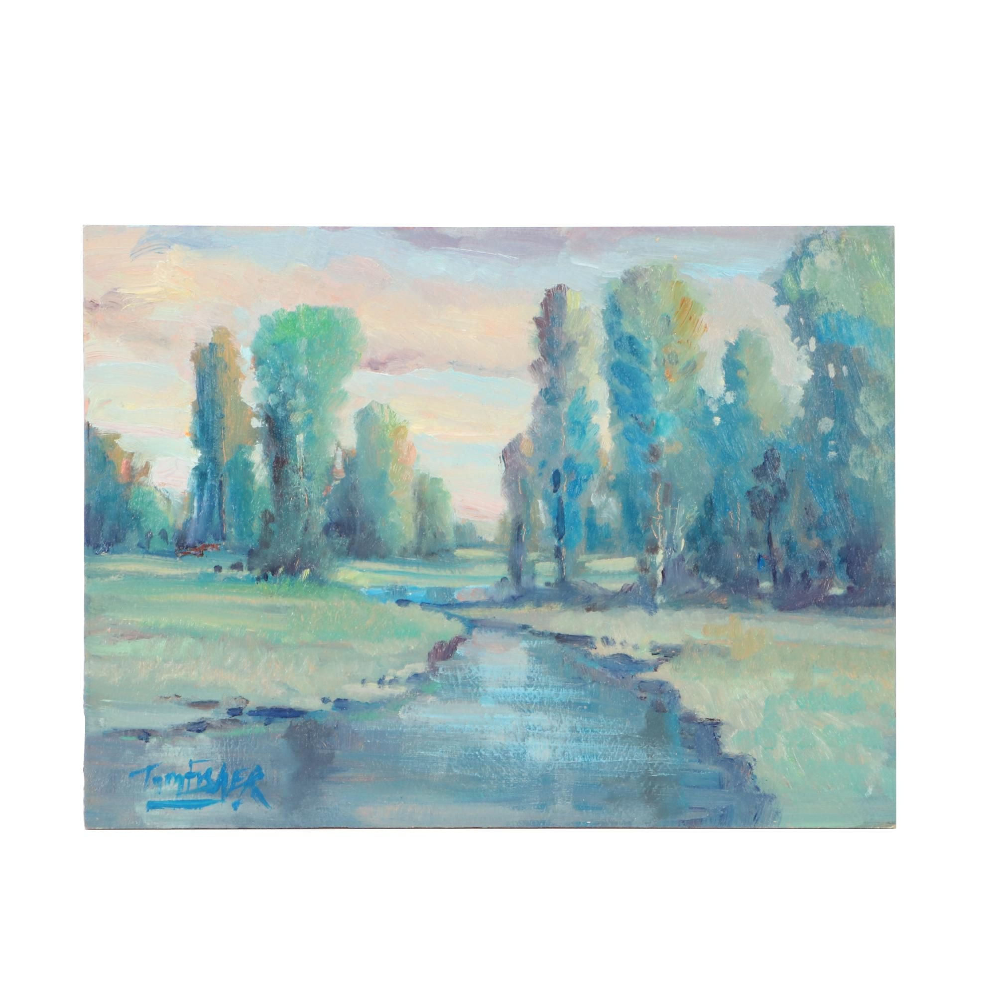 "Tom Fisher Landscape Oil Painting ""Tall Tree Creek"""