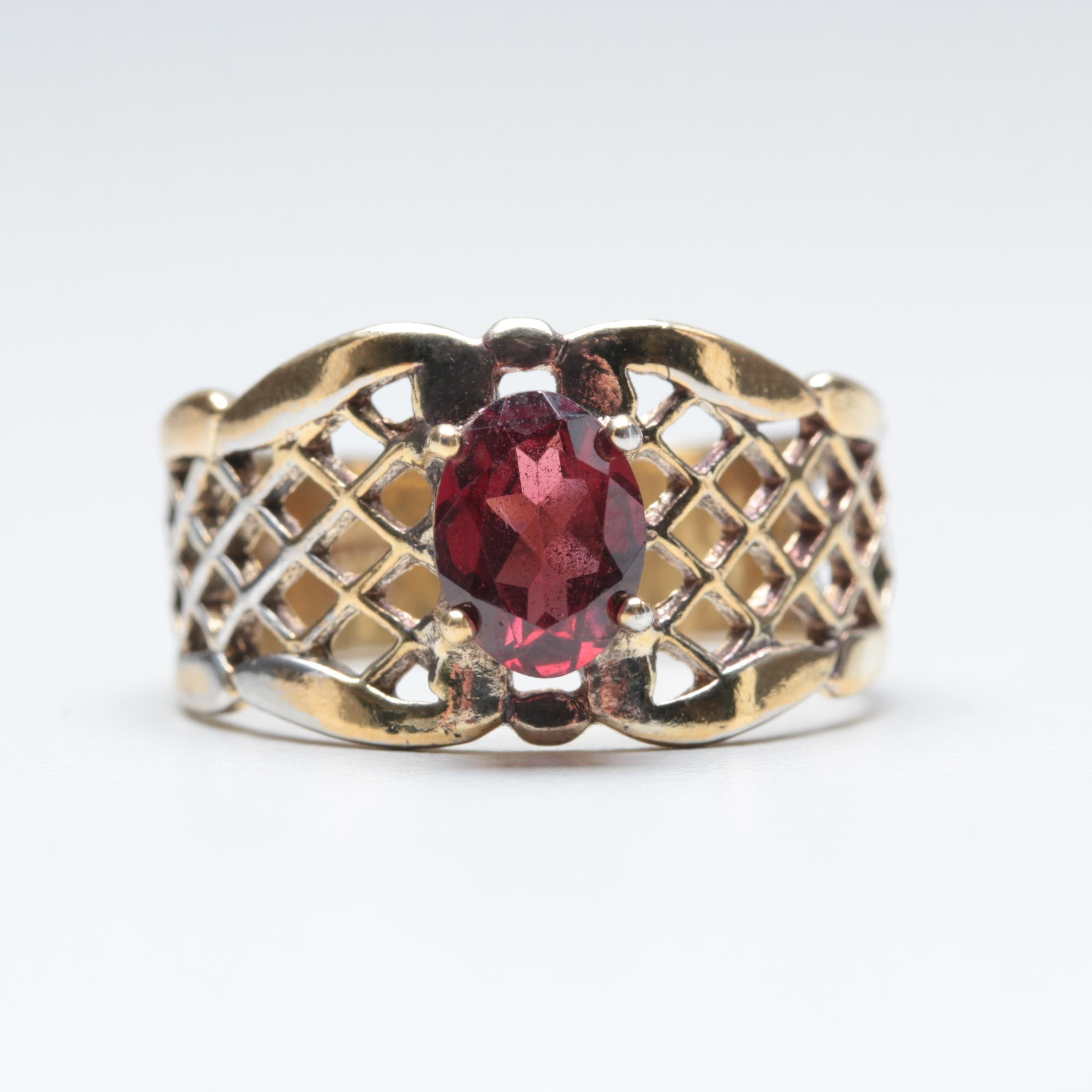 Gold Wash on Sterling Silver Garnet Ring