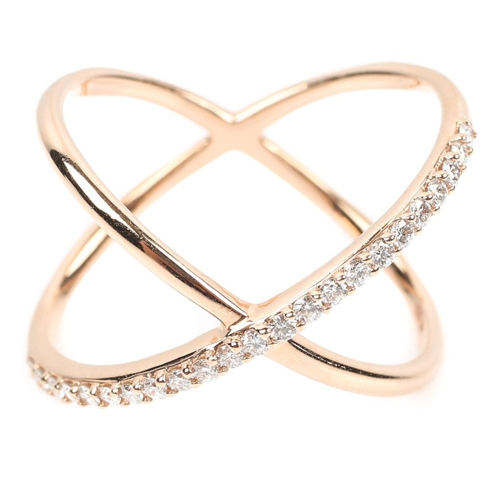 14K Yellow Gold Diamond Crossover Ring