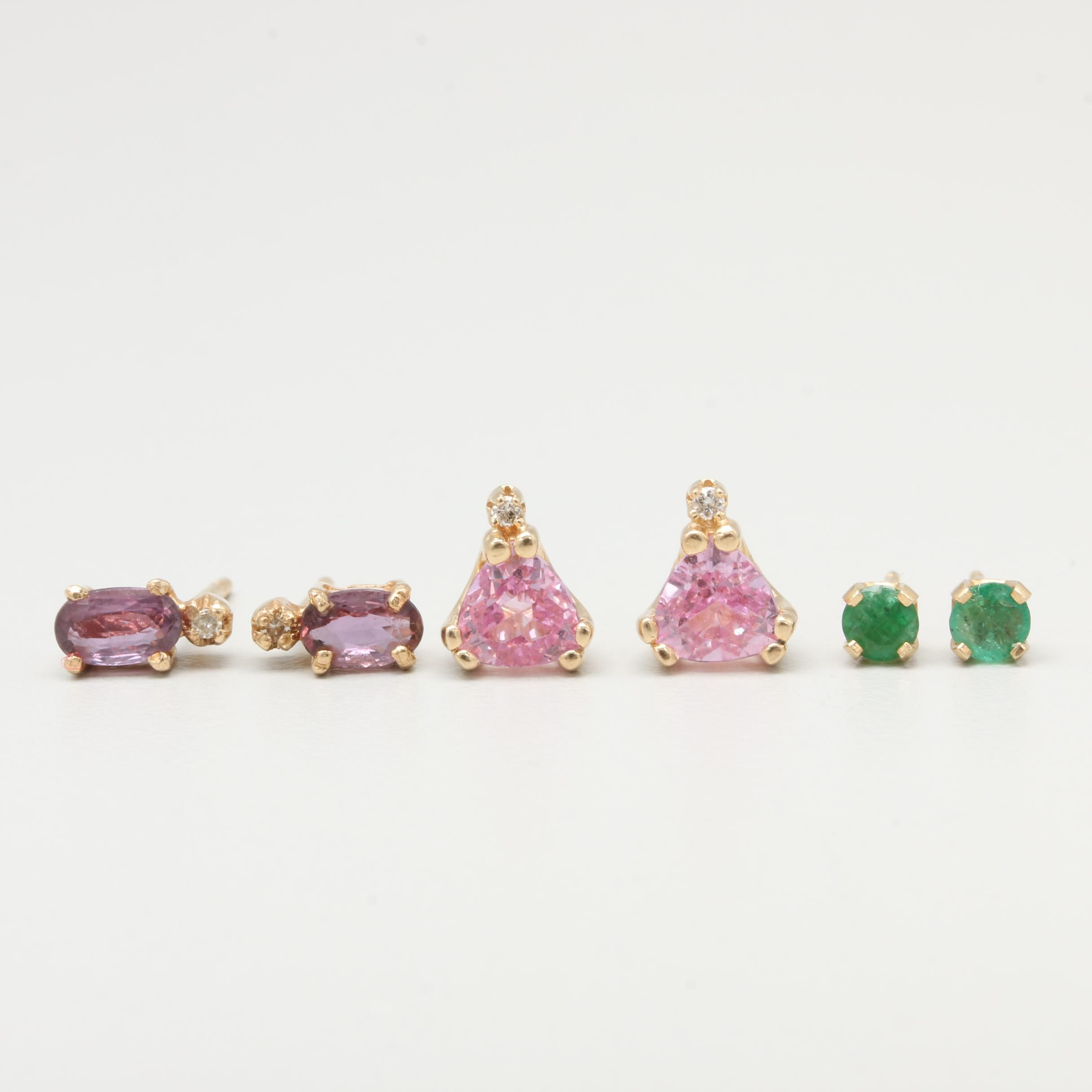 14K Yellow Gold Diamond, Sapphire, Emerald and Synthetic Sapphire Earrings