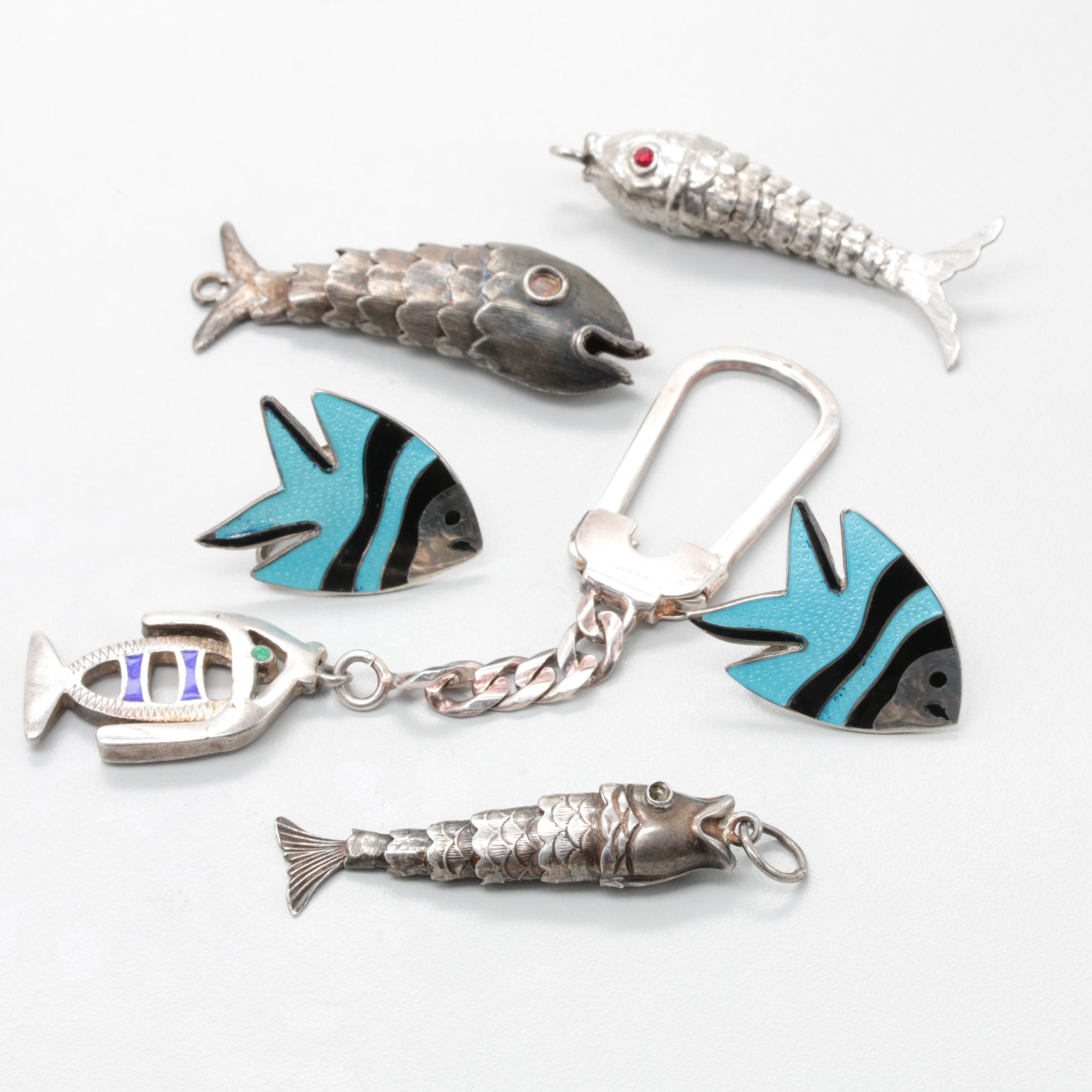 Sterling Silver Aquatic Themed Jewelry Selection Including Enamel and Glass