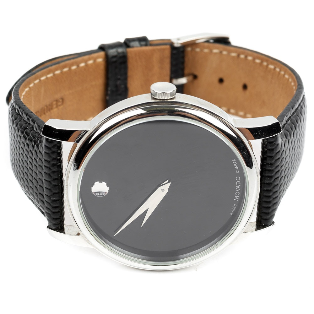 Movado Stainless Steel and Genuine Leather Museum Model Wristwatch