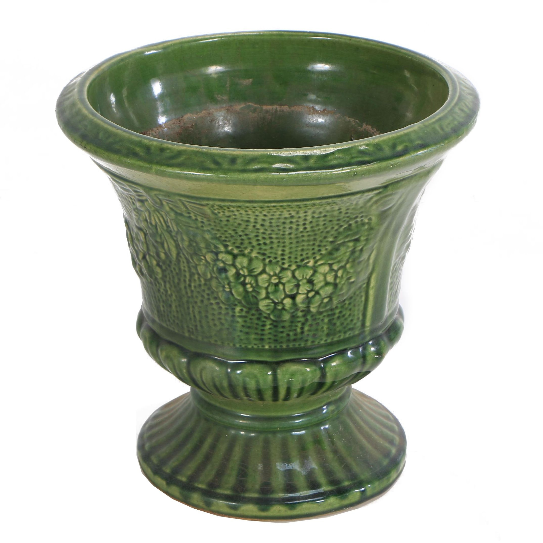 Ceramic Urn Planter with Floral Motif