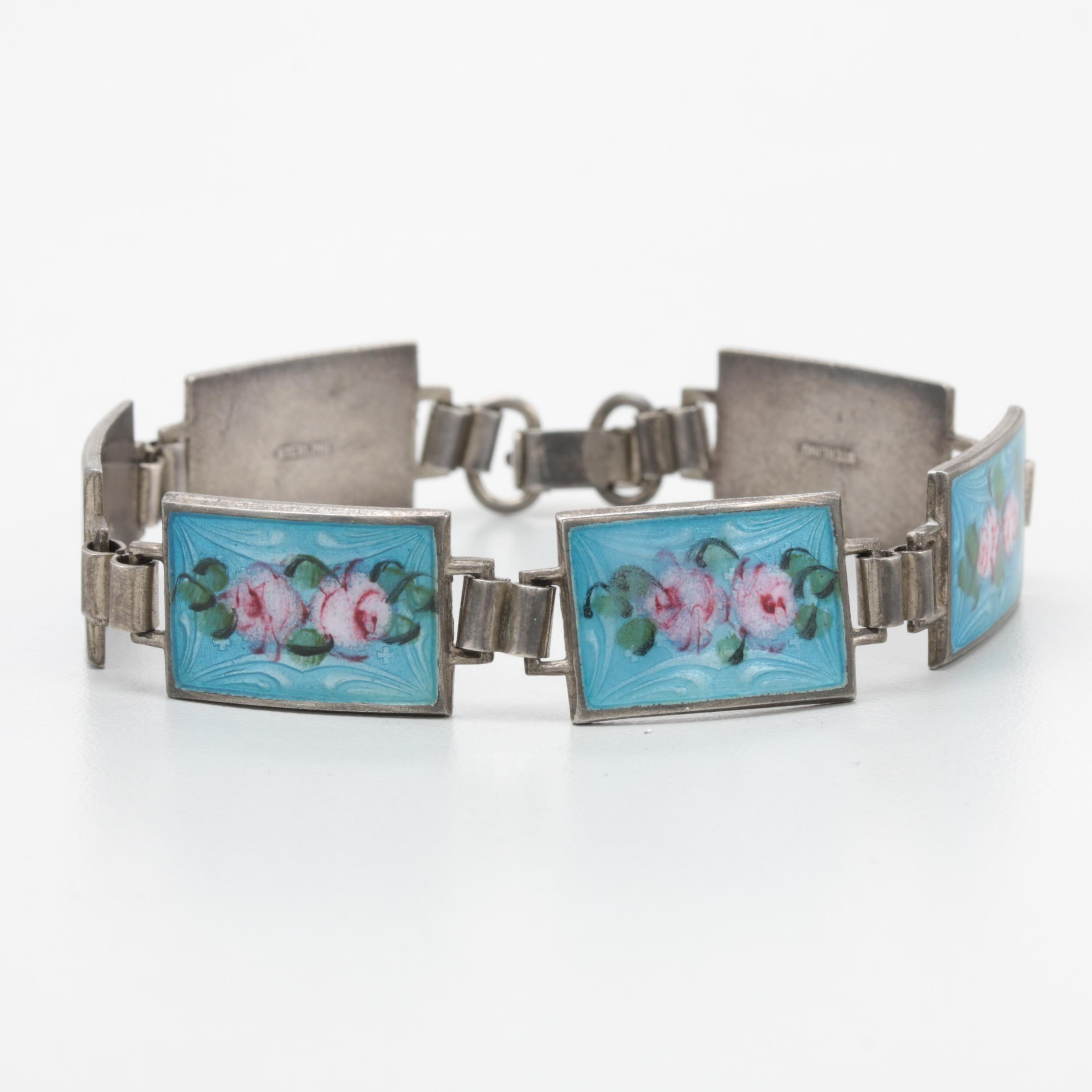 Circa 1930s Sterling Silver Guilloche Enamel Bracelet