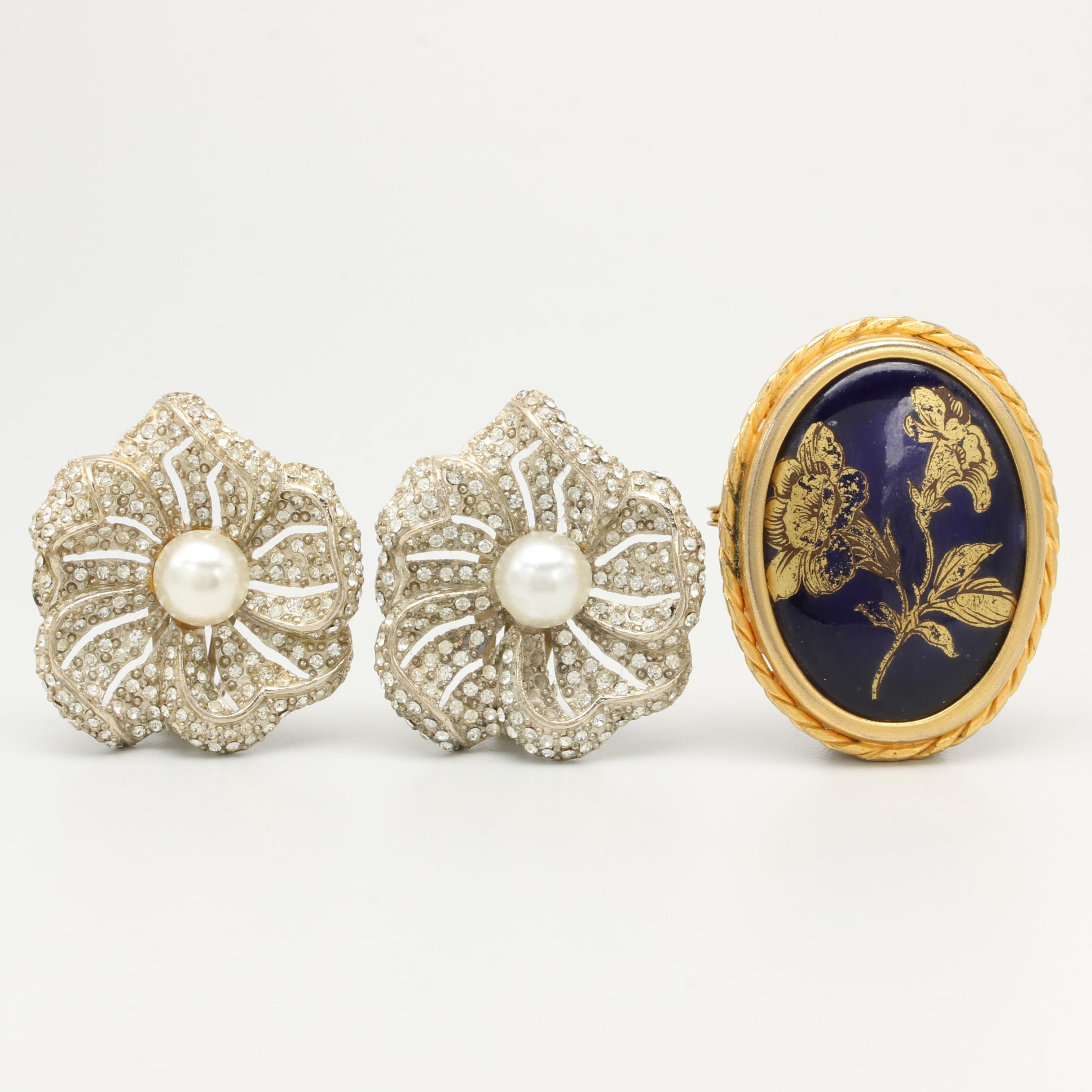 Costume Foilback, Imitation Pearl and Porcelain Earrings and Brooch
