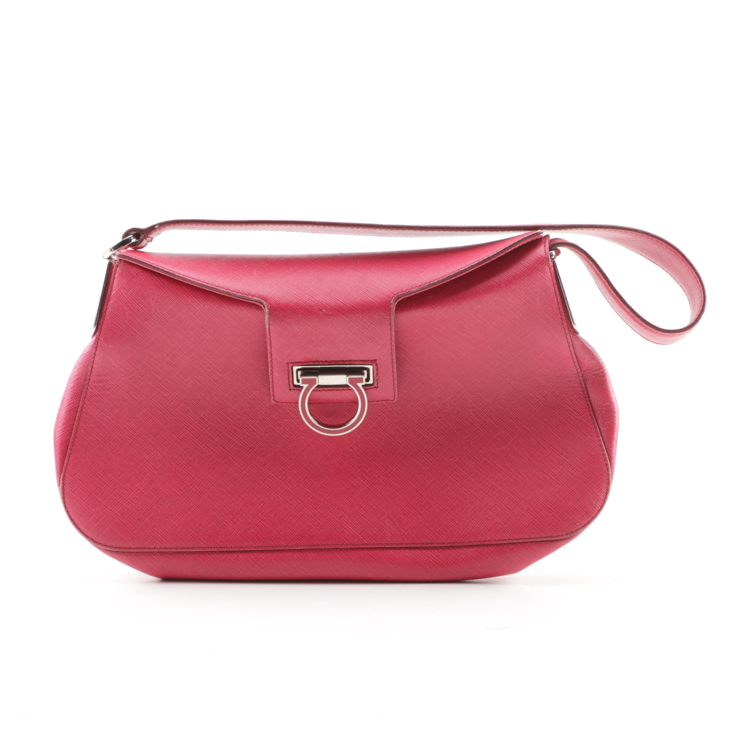 Salvatore Ferragamo Fuchsia Crossgrain Leather Shoulder Bag