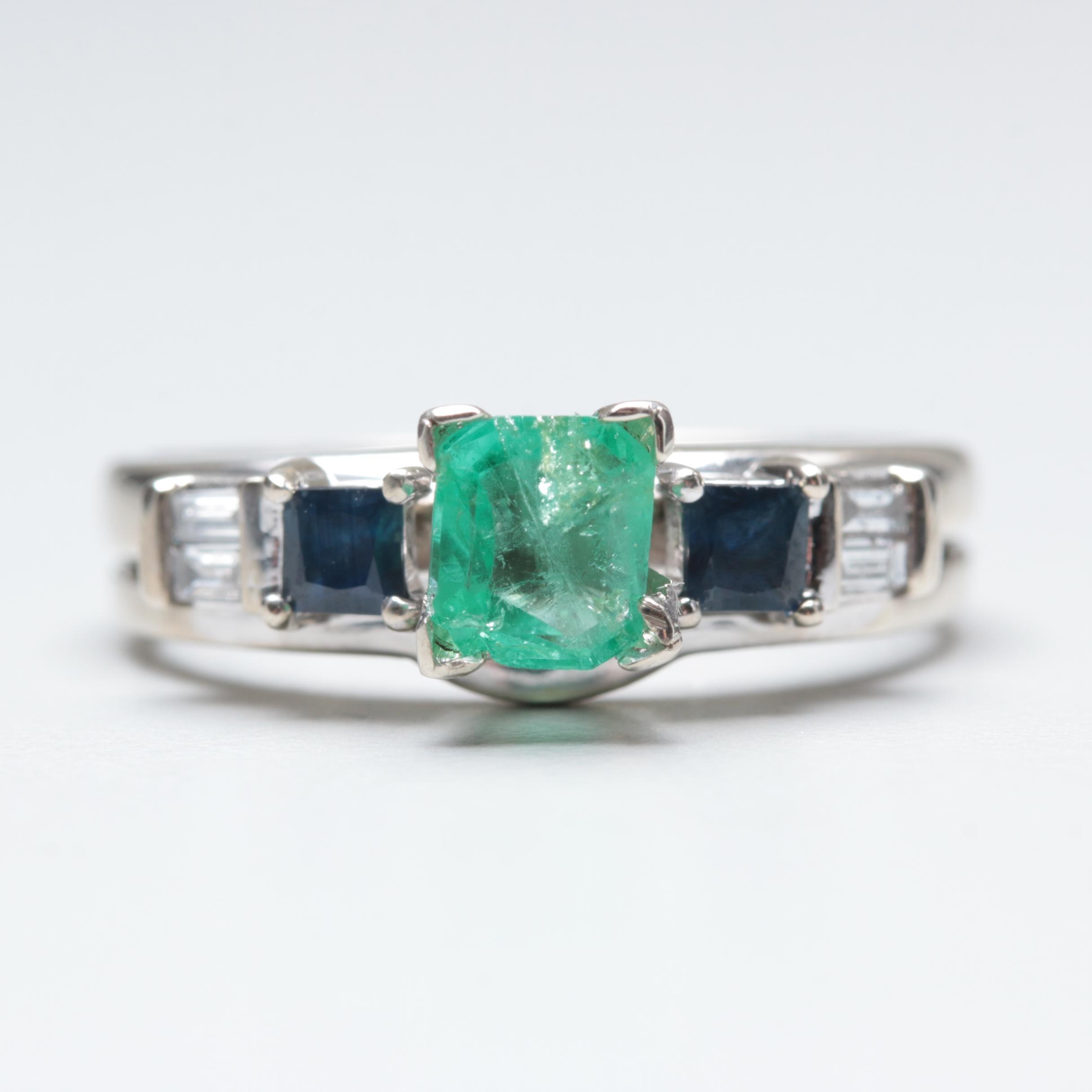 14K White Gold Emerald, Blue Sapphire and Diamond Ring