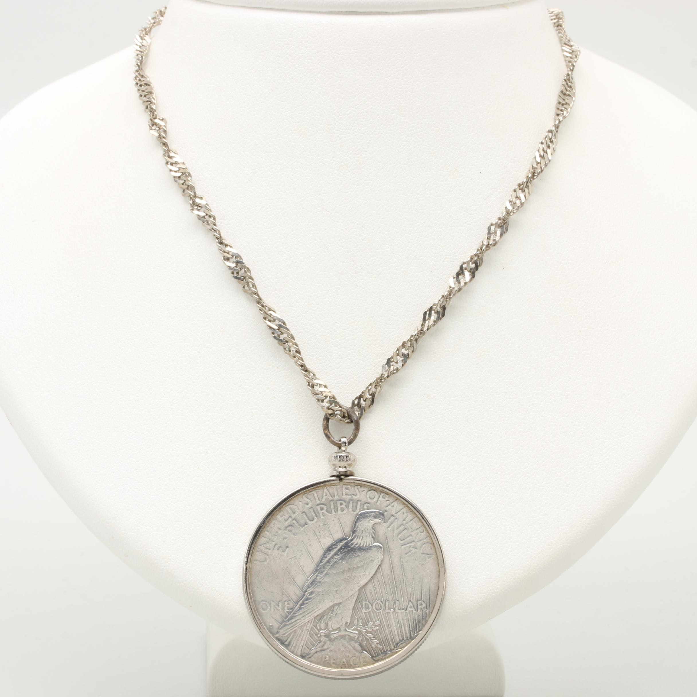Sterling Silver Chain Necklace with 1923-S Peace Silver Dollar