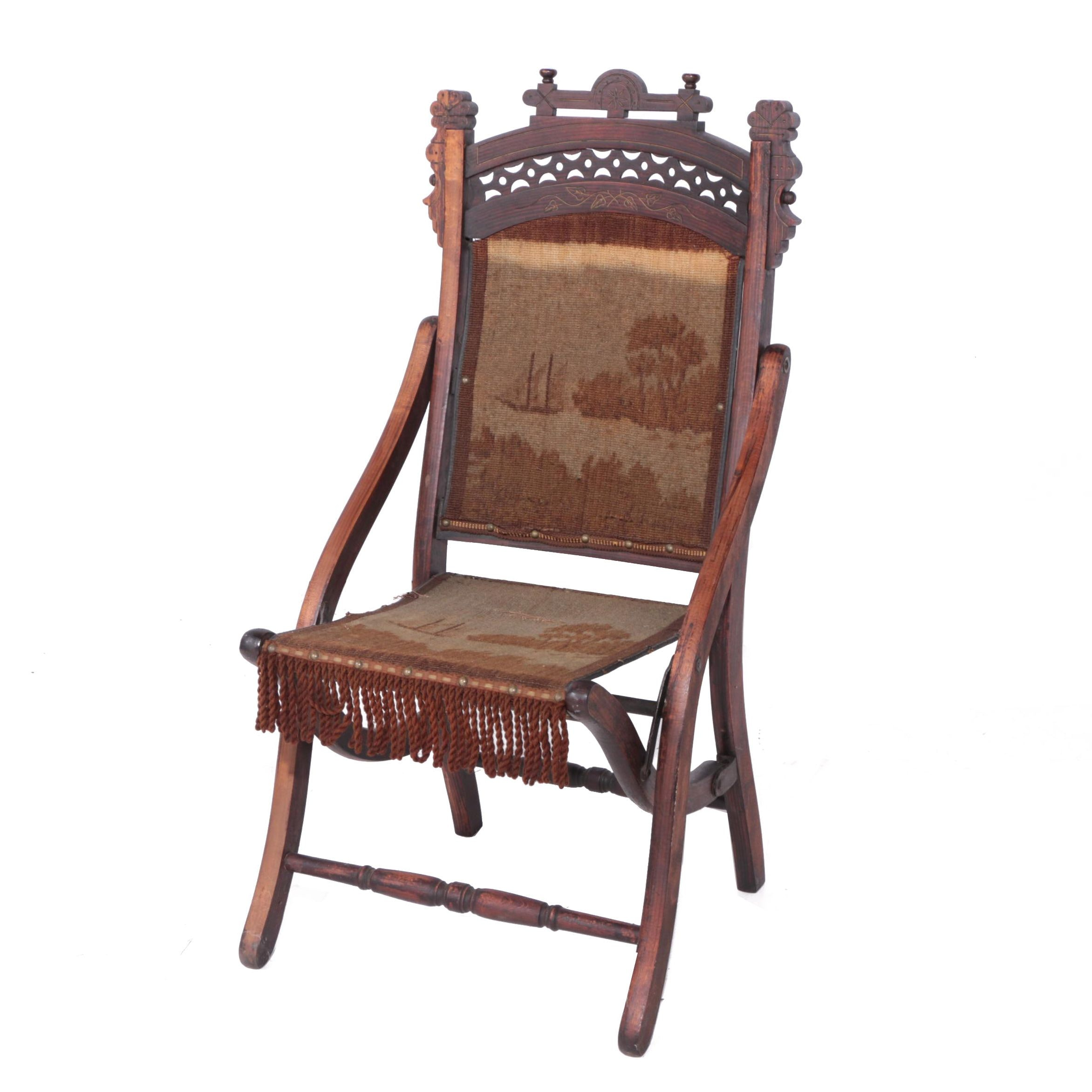Eastlake Folding Chair with Tapestry Upholstery, Late 19th Century