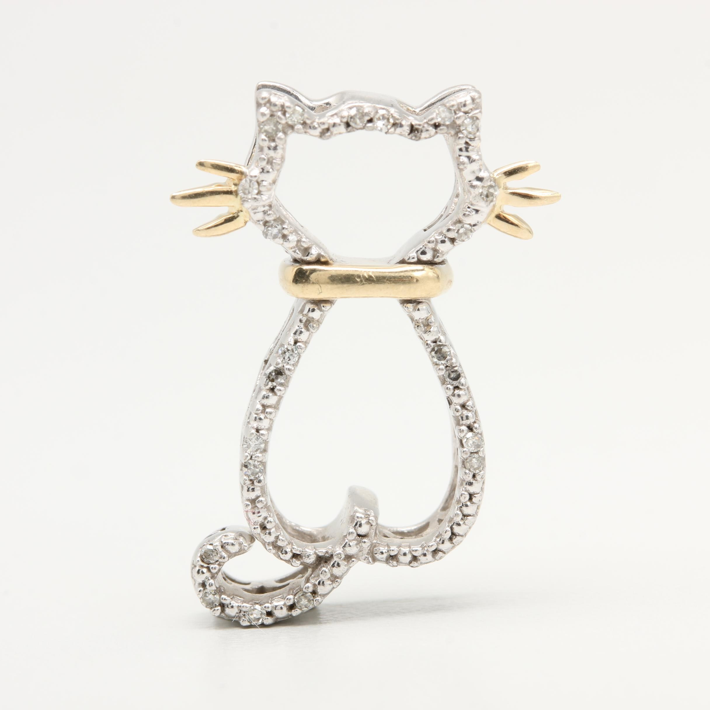Sterling Silver Diamond Cat Pendant with 14K Yellow Gold Accents