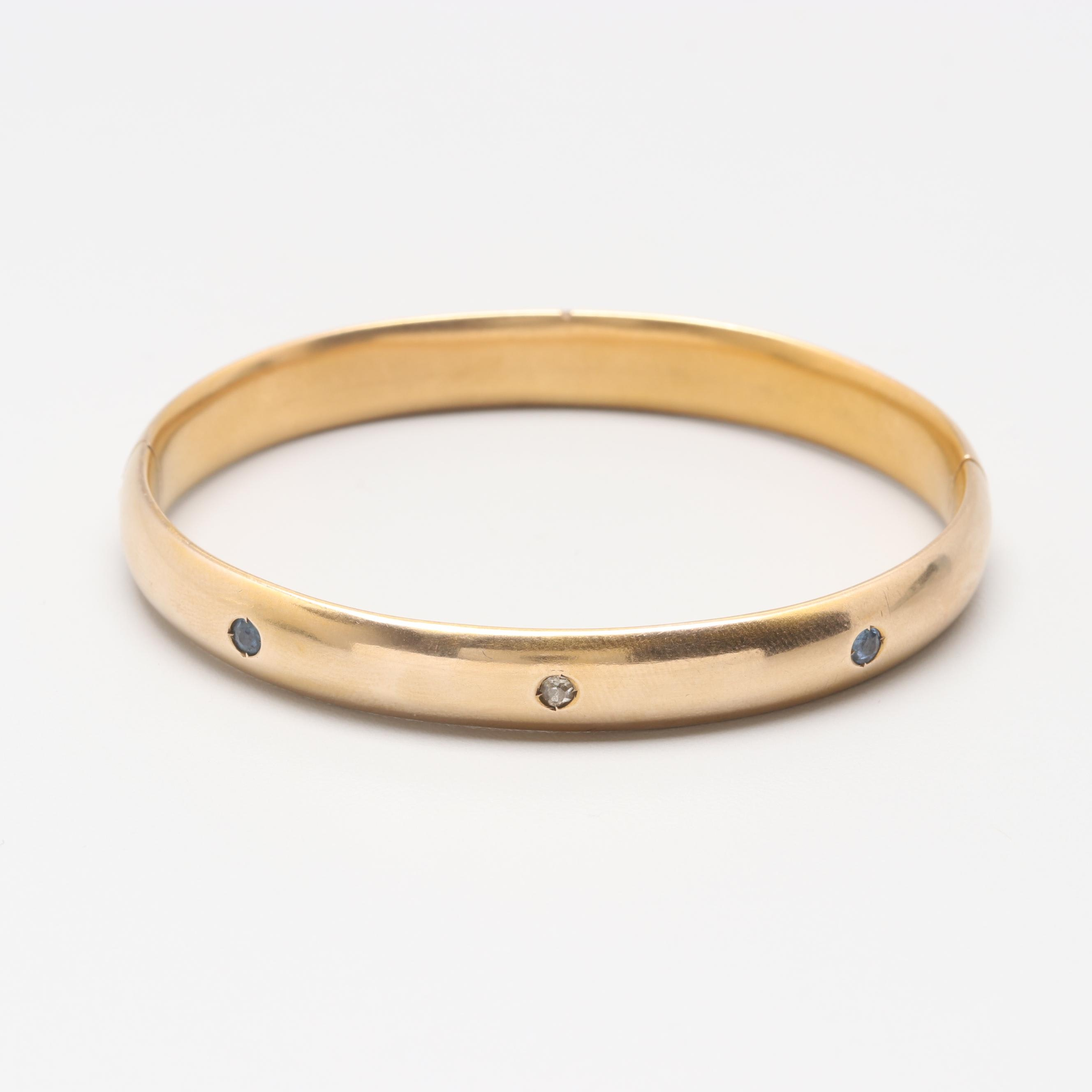 10K Yellow Gold Diamond and Blue Sapphire Bangle Bracelet