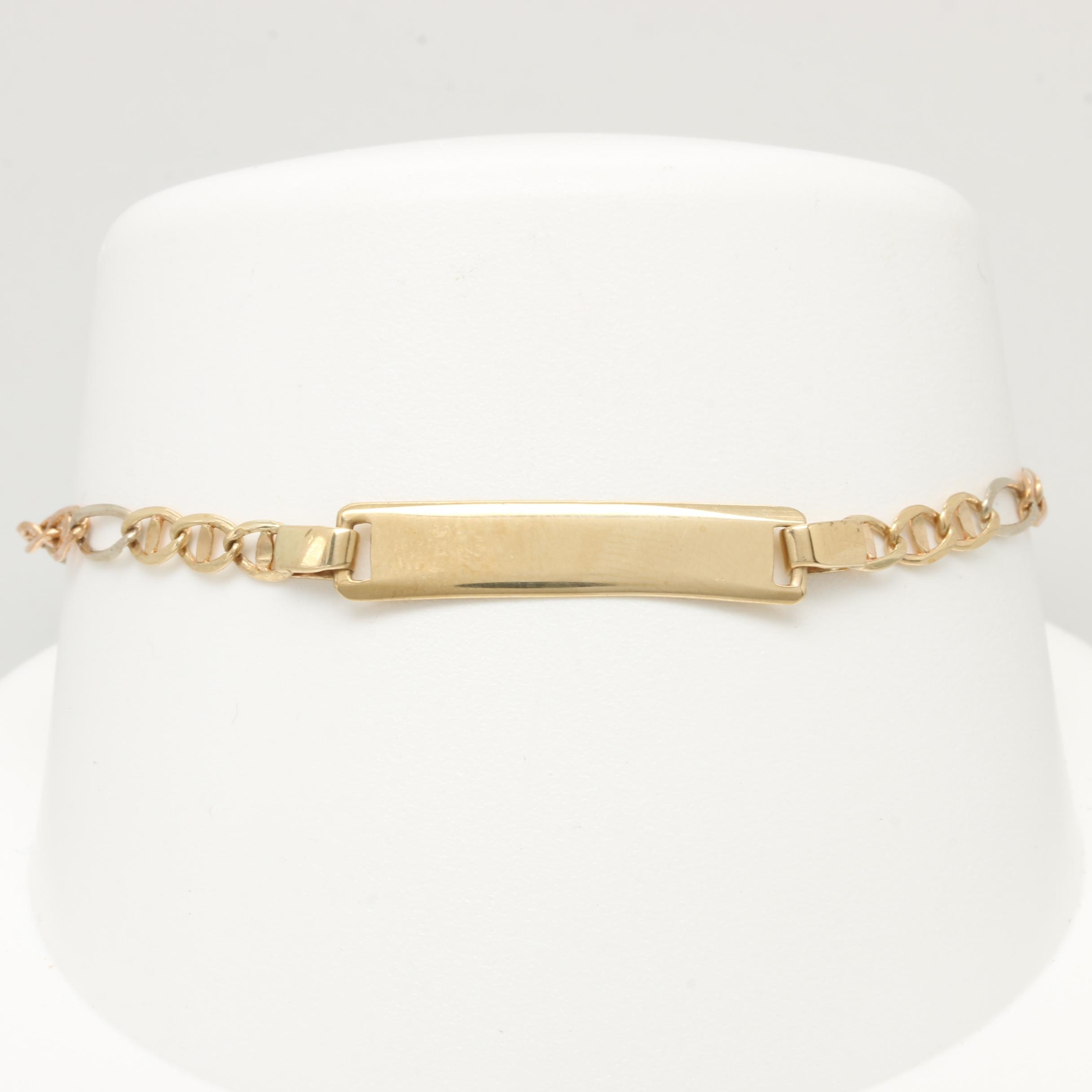 10K Yellow, White, and Rose Gold ID Bracelet
