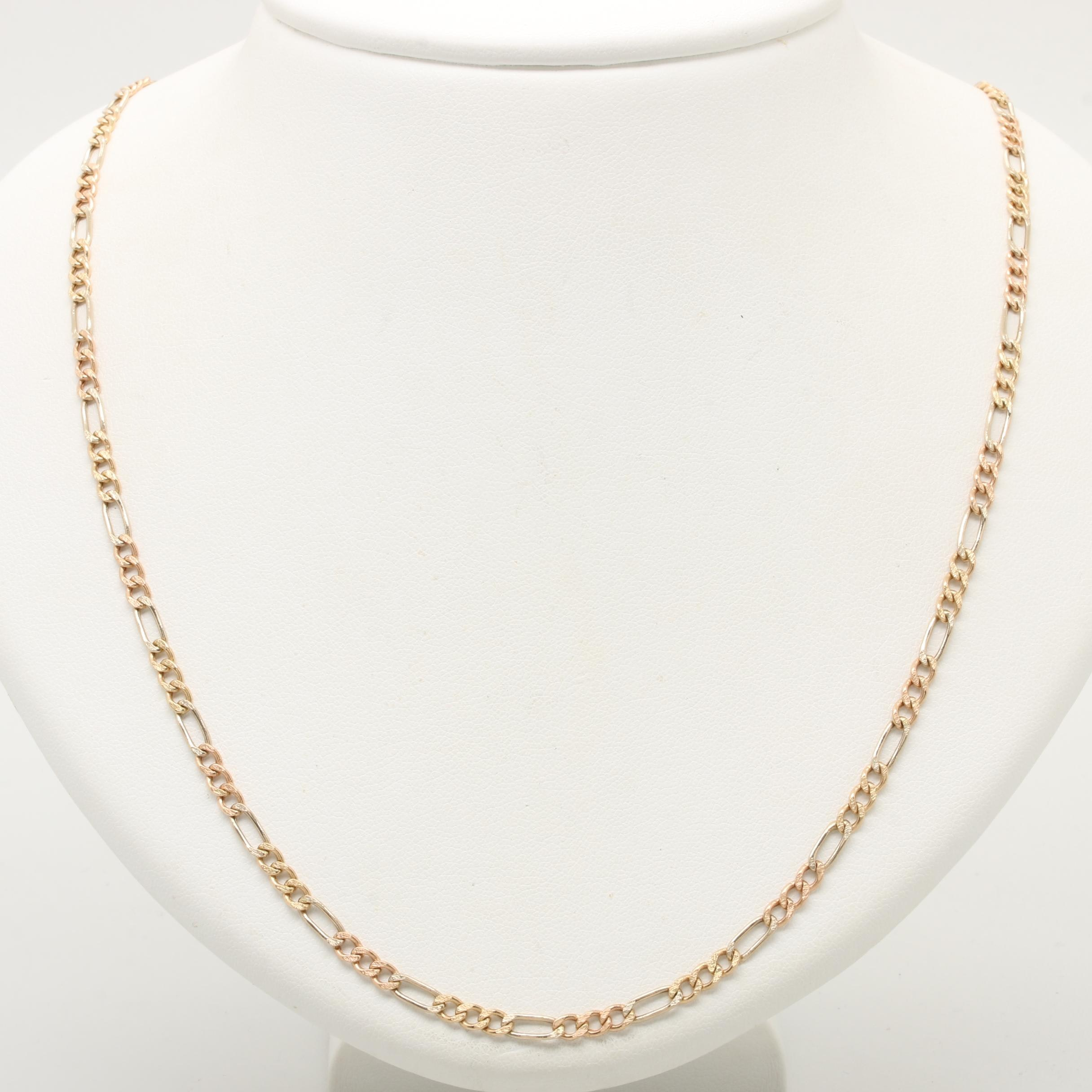 14K Yellow, Rose, and White Gold Figaro Chain Necklace