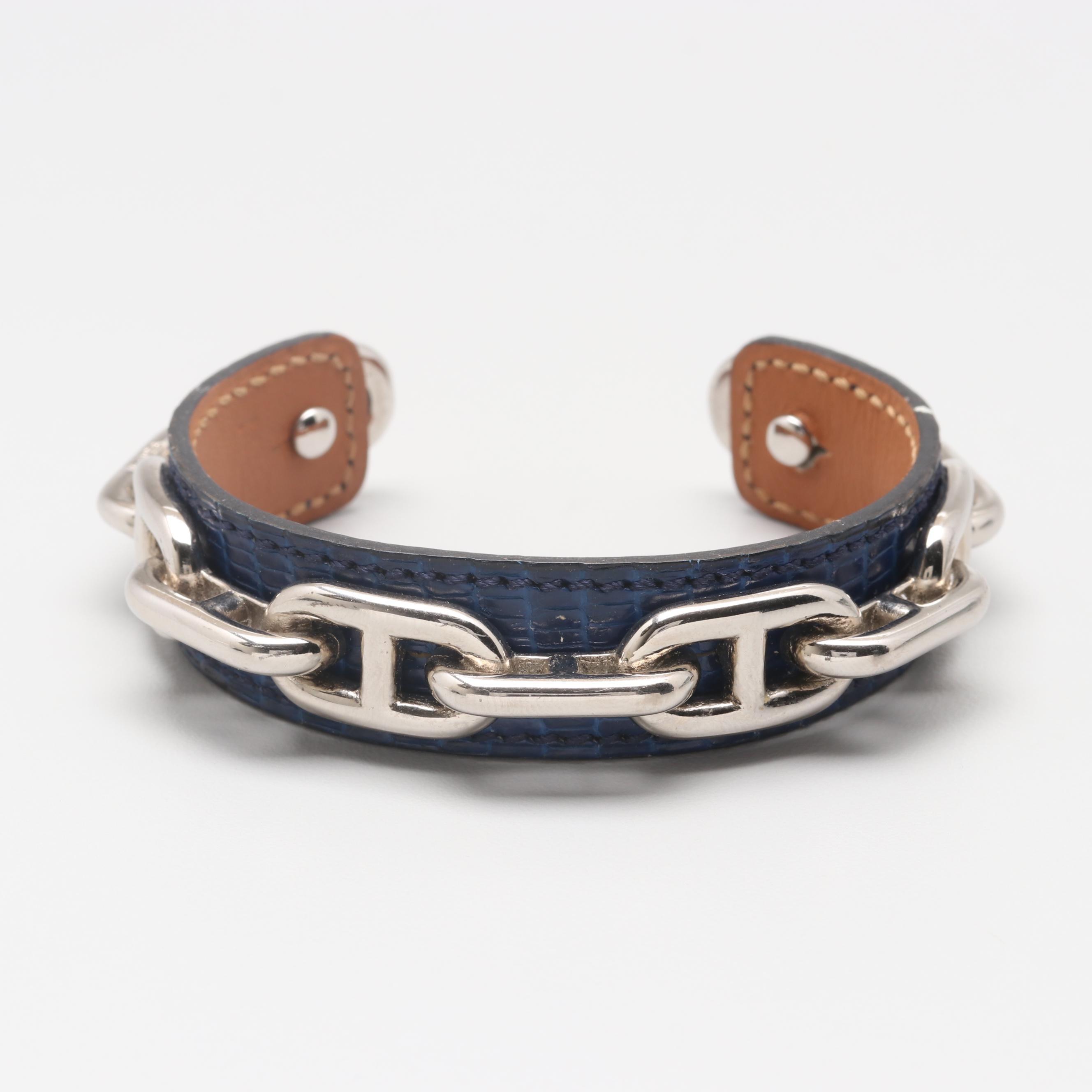 "Circa 1980s Hermès Embossed Crocodile ""Chaine D'Ancre"" Cuff Bracelet"