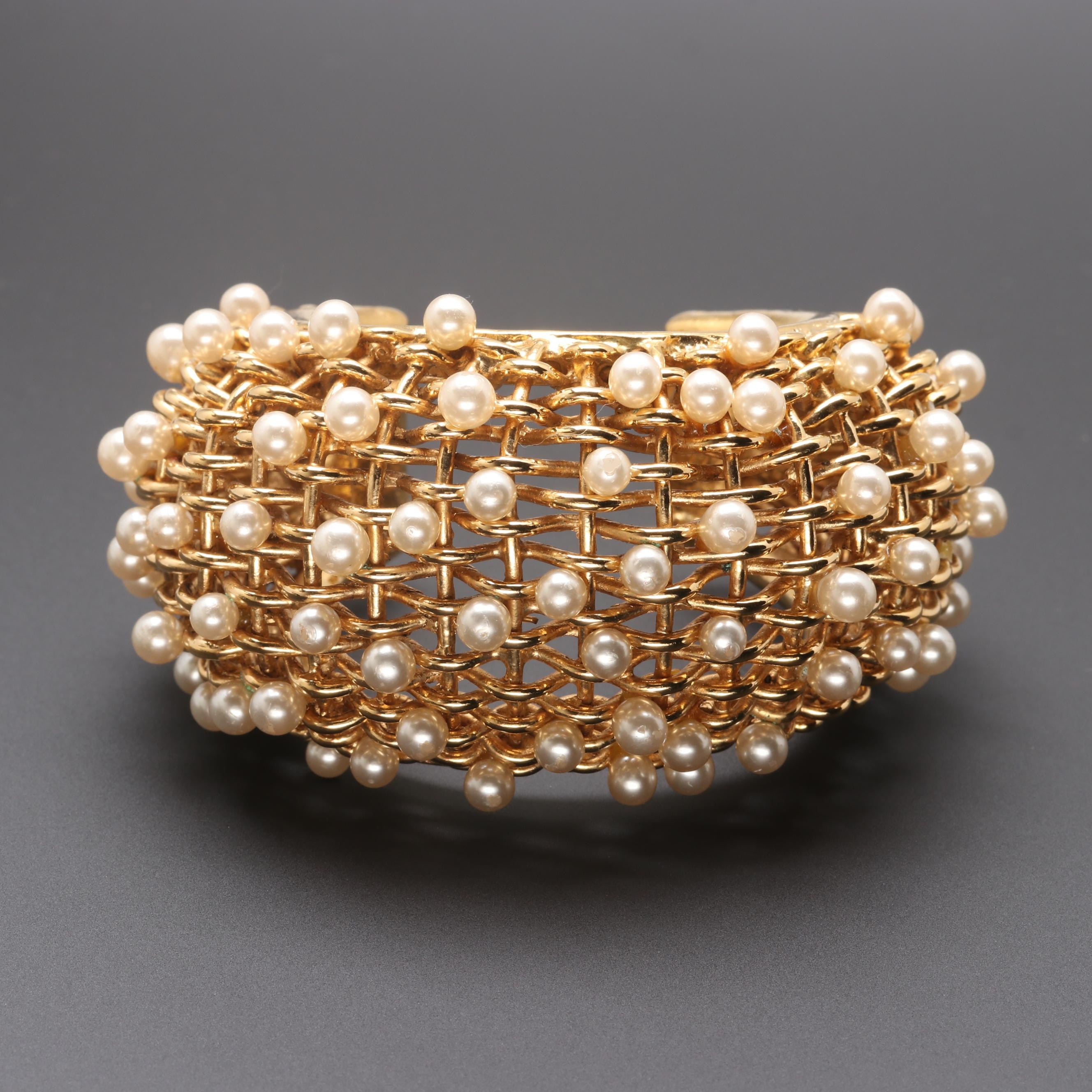 "Circa 1980s Chanel Imitation Cultured Pearl ""Season 23 Chanel Cuff"" Bracelet"