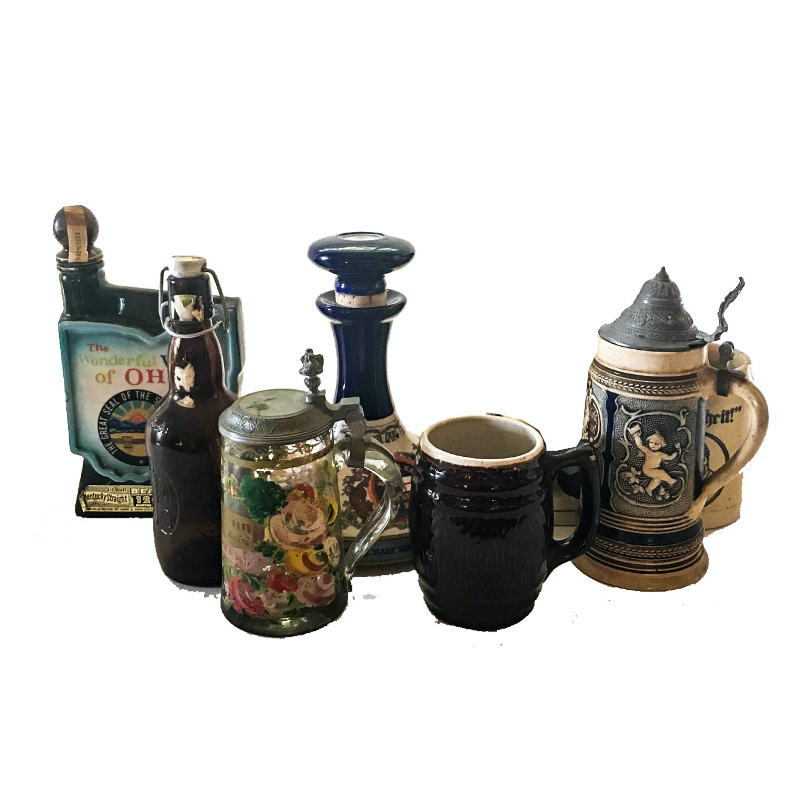 Decorative Decanters and Steins including Wade