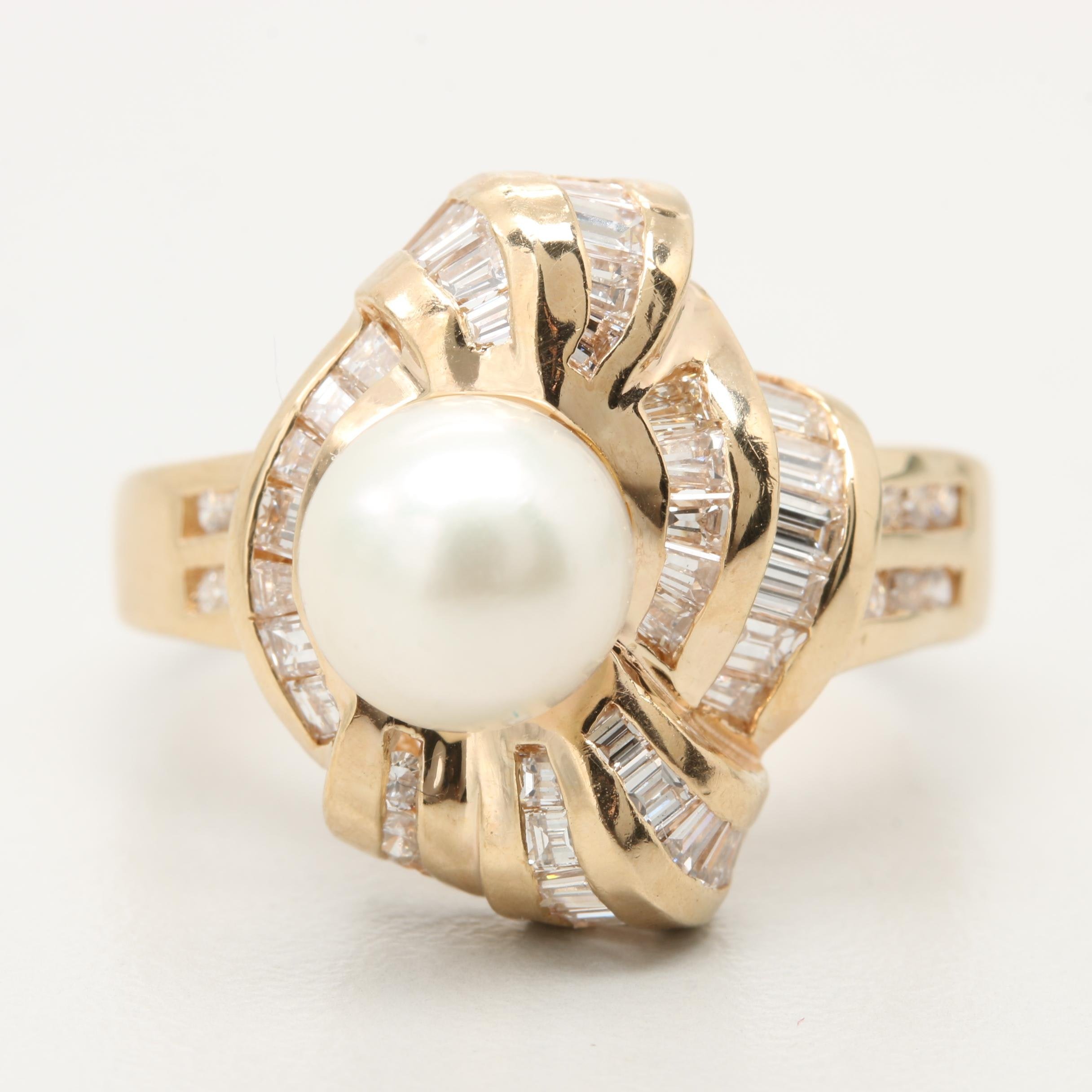 14K Yellow Gold Cultured Pearl and 1.22 CTW Diamond Ring