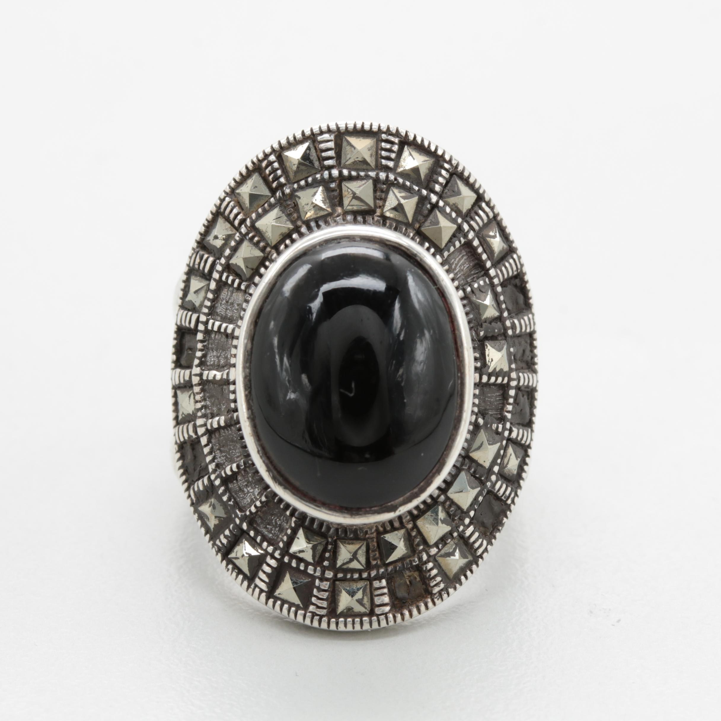 Sterling Silver Black Onyx and Marcasite Ring