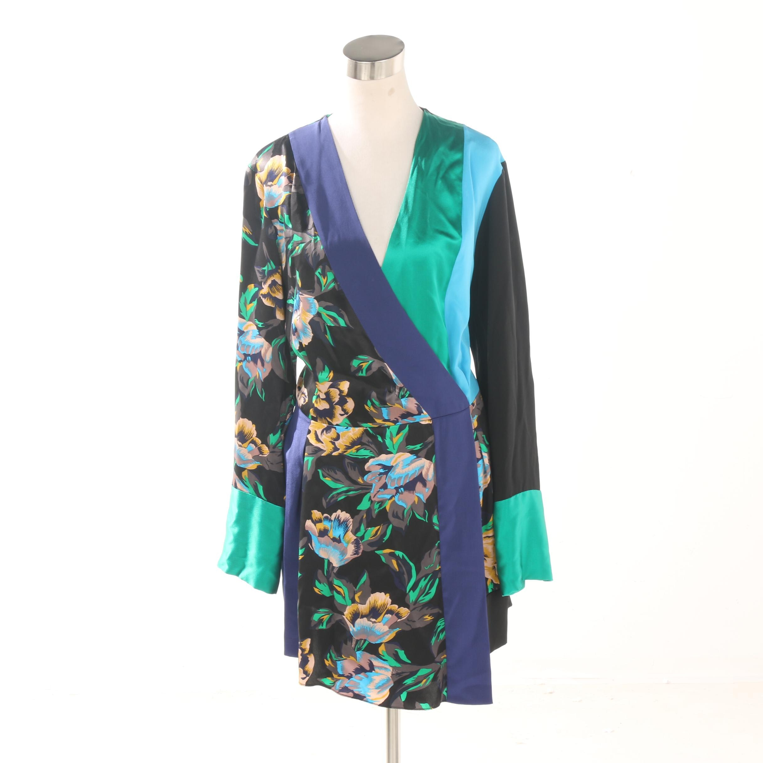 Diane von Furstenberg Floral Silk Crossover Dress