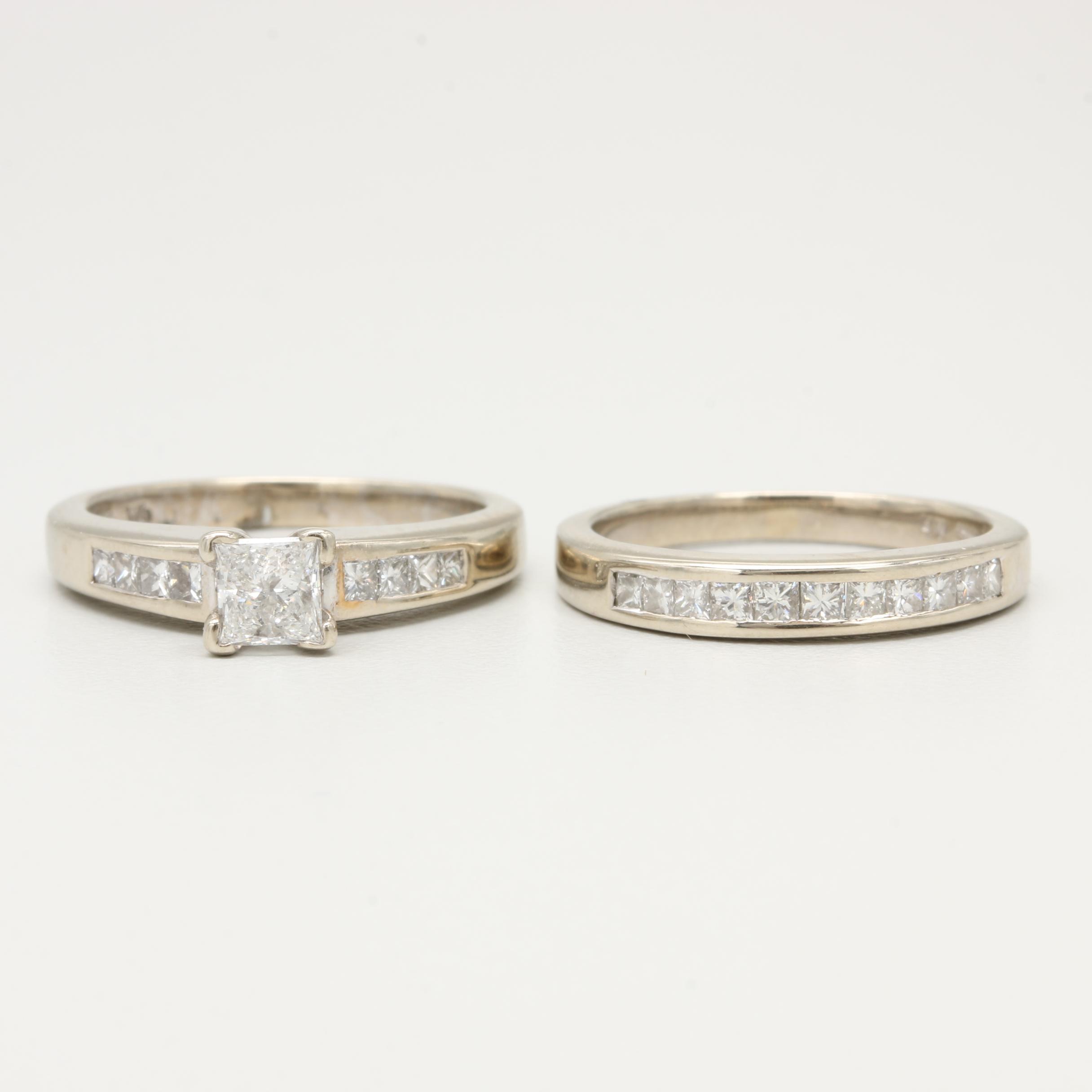 14K White Gold 1.29 CTW Diamond Rings