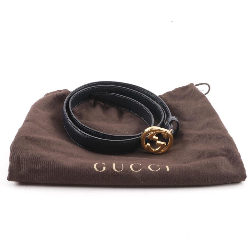 6b2a86e4ad64 Gucci Navy Leather Dress Belt with Interlocking GG Buckle   EBTH