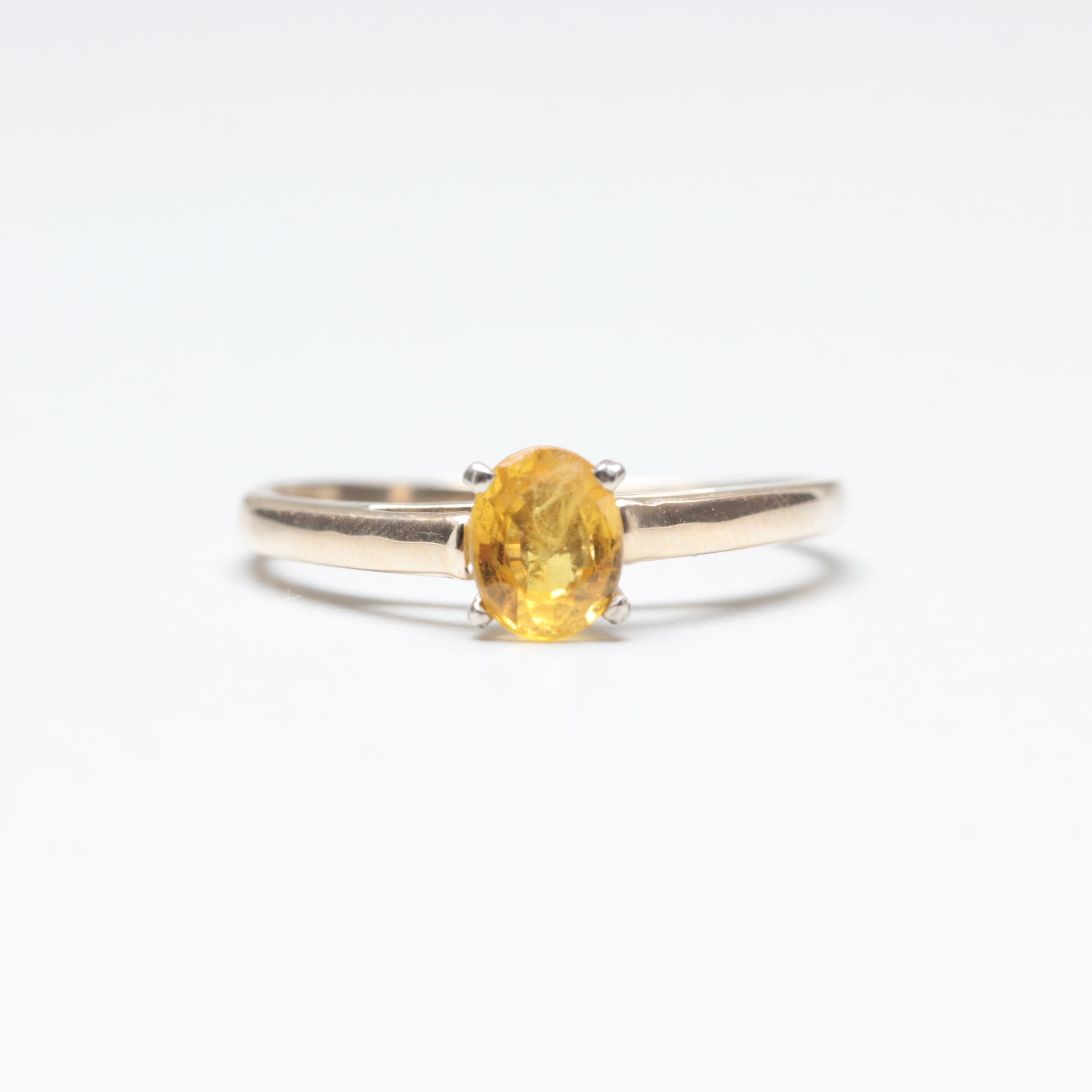 14K Yellow and White Gold Yellow Sapphire Ring