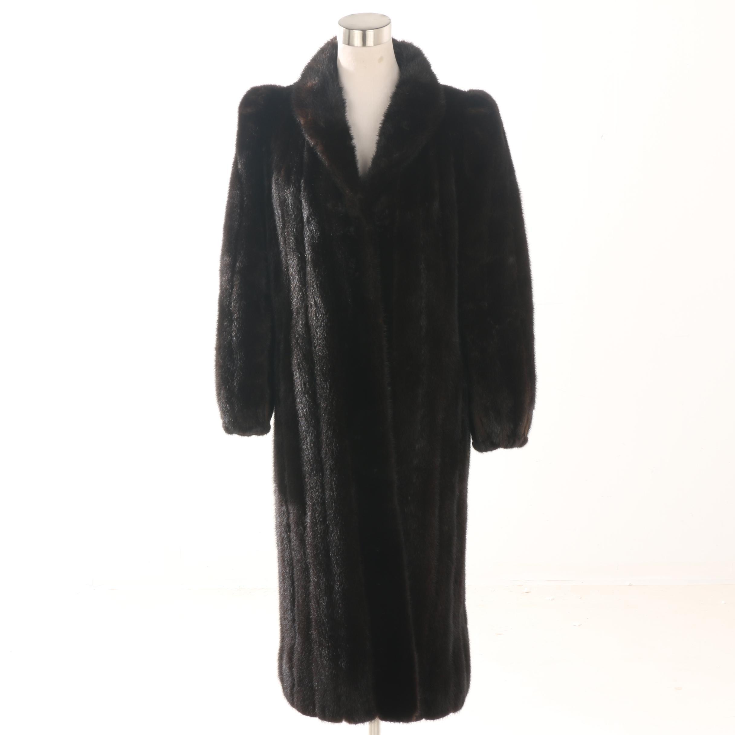 Women's Furs by Clyde Burtrum Dark Mahogany Mink Fur Full-Length Coat