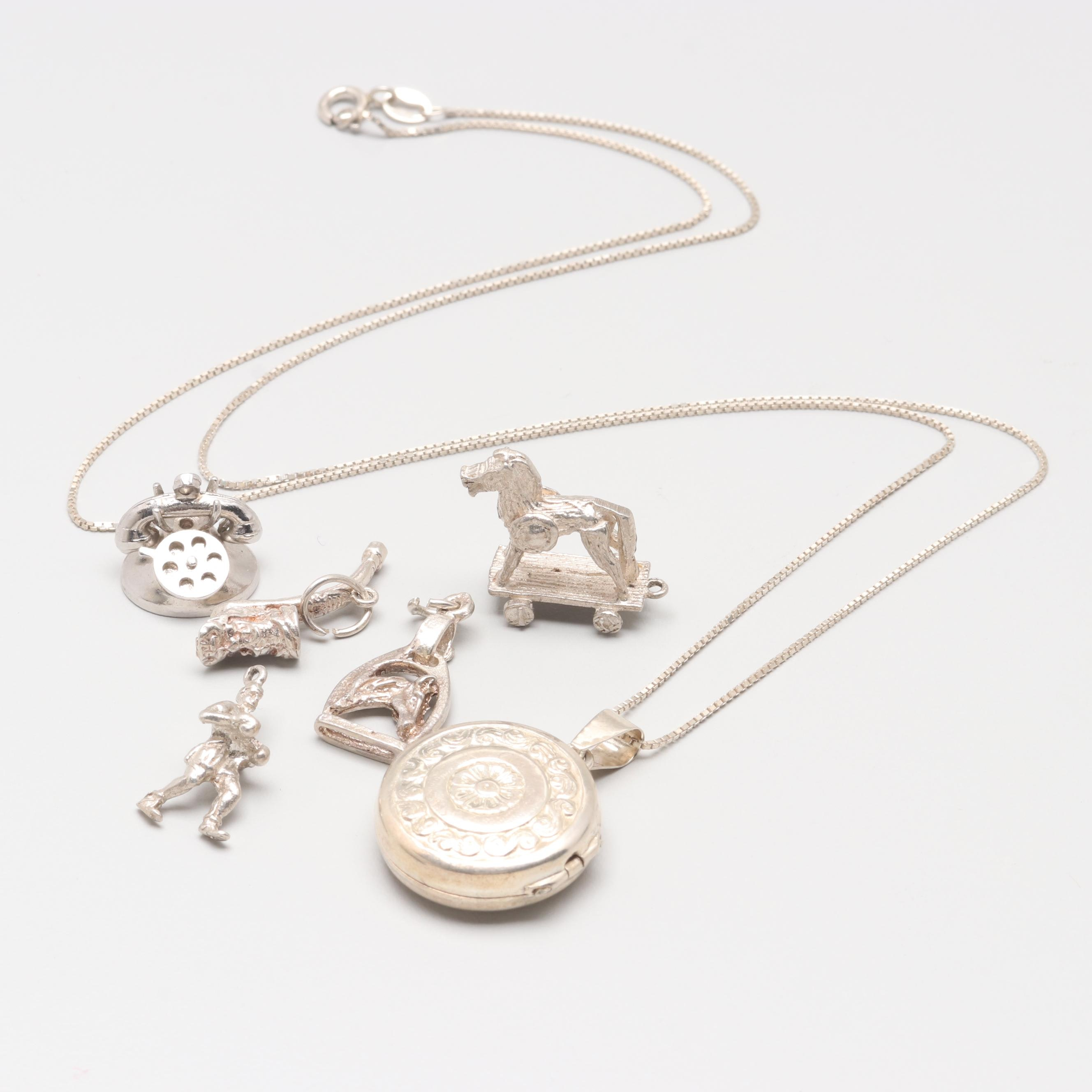 Sterling Silver Jewelry Collection Including Locket Necklace and Charms