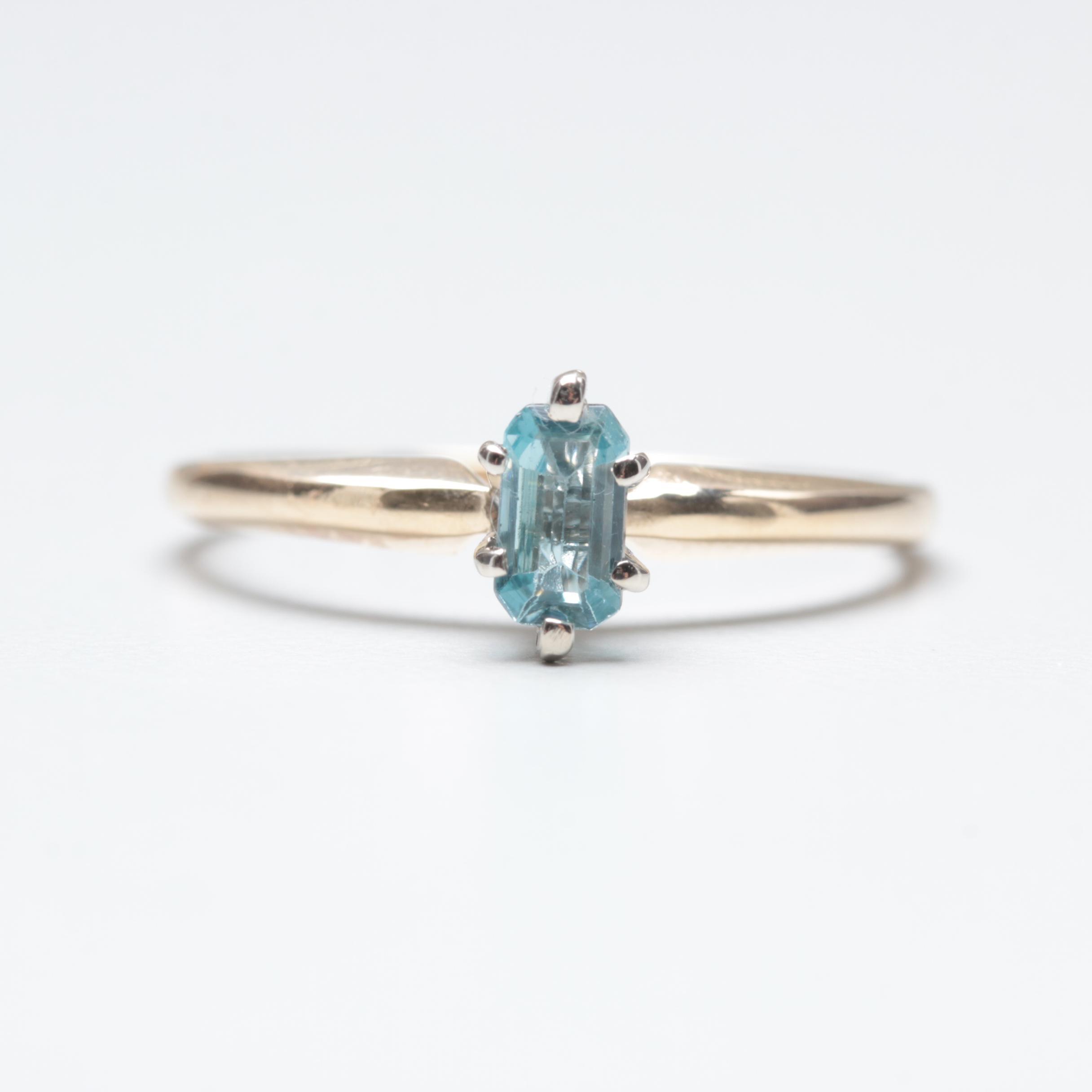 14K Yellow and White Gold Aquamarine Ring