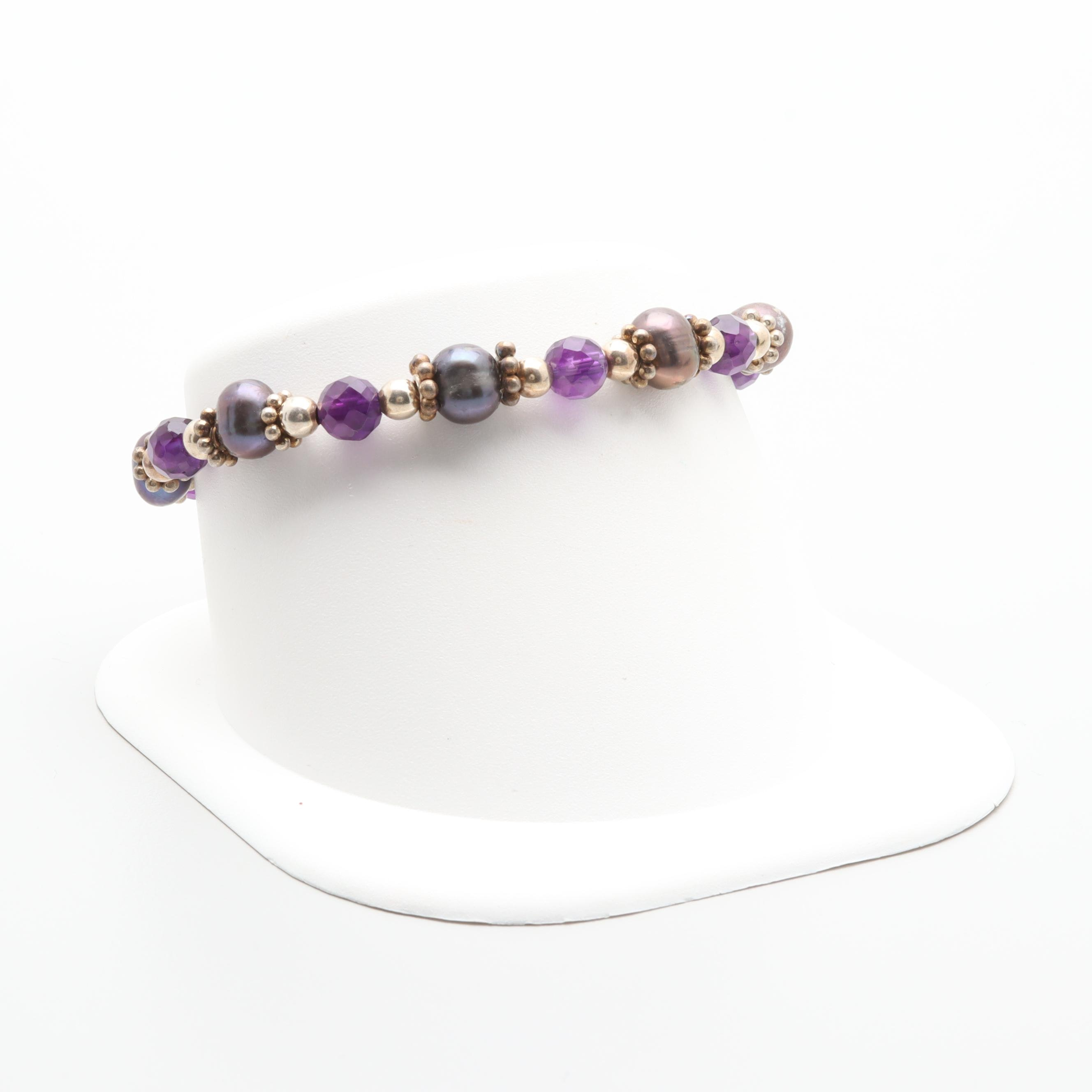 Sterling Silver Amethyst and Cultured Pearl Bracelet