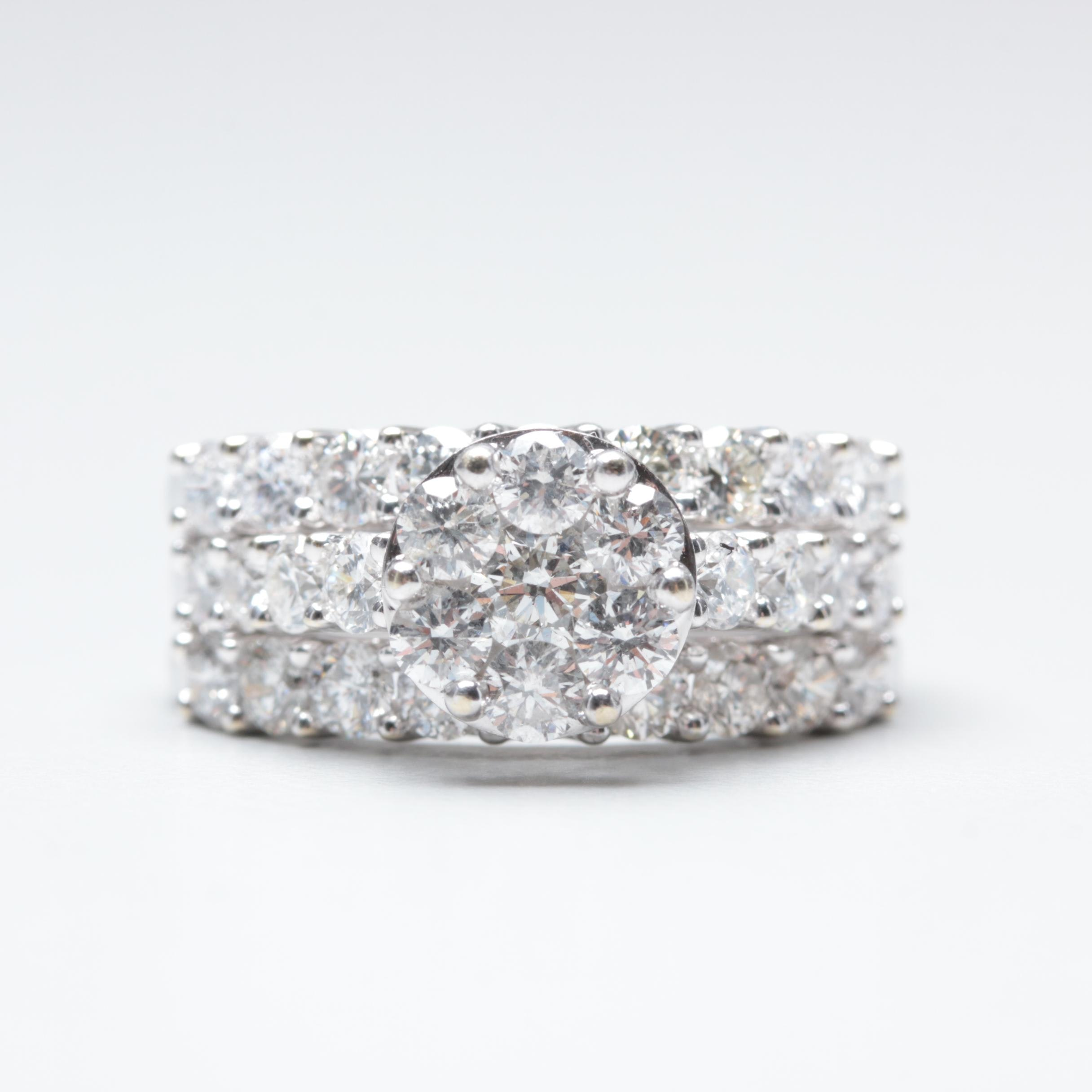 14K White Gold 2.91 CTW Diamond Ring