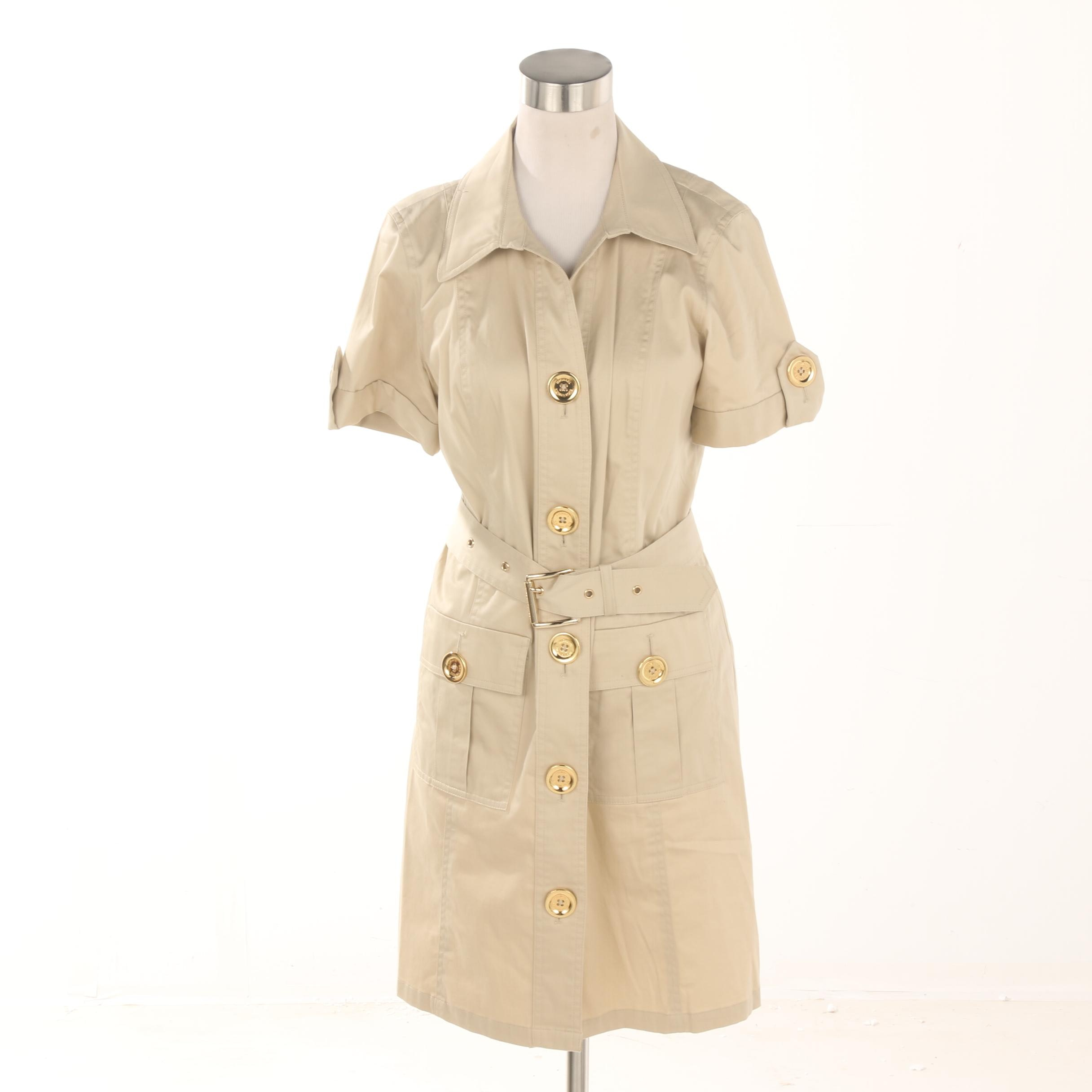 MICHAEL Michael Kors Khaki Cotton Blend Shirt Dress
