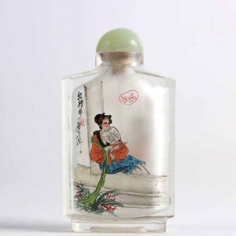 Chinese Reverse Painted Glass Snuff Bottle with Bowenite Stopper