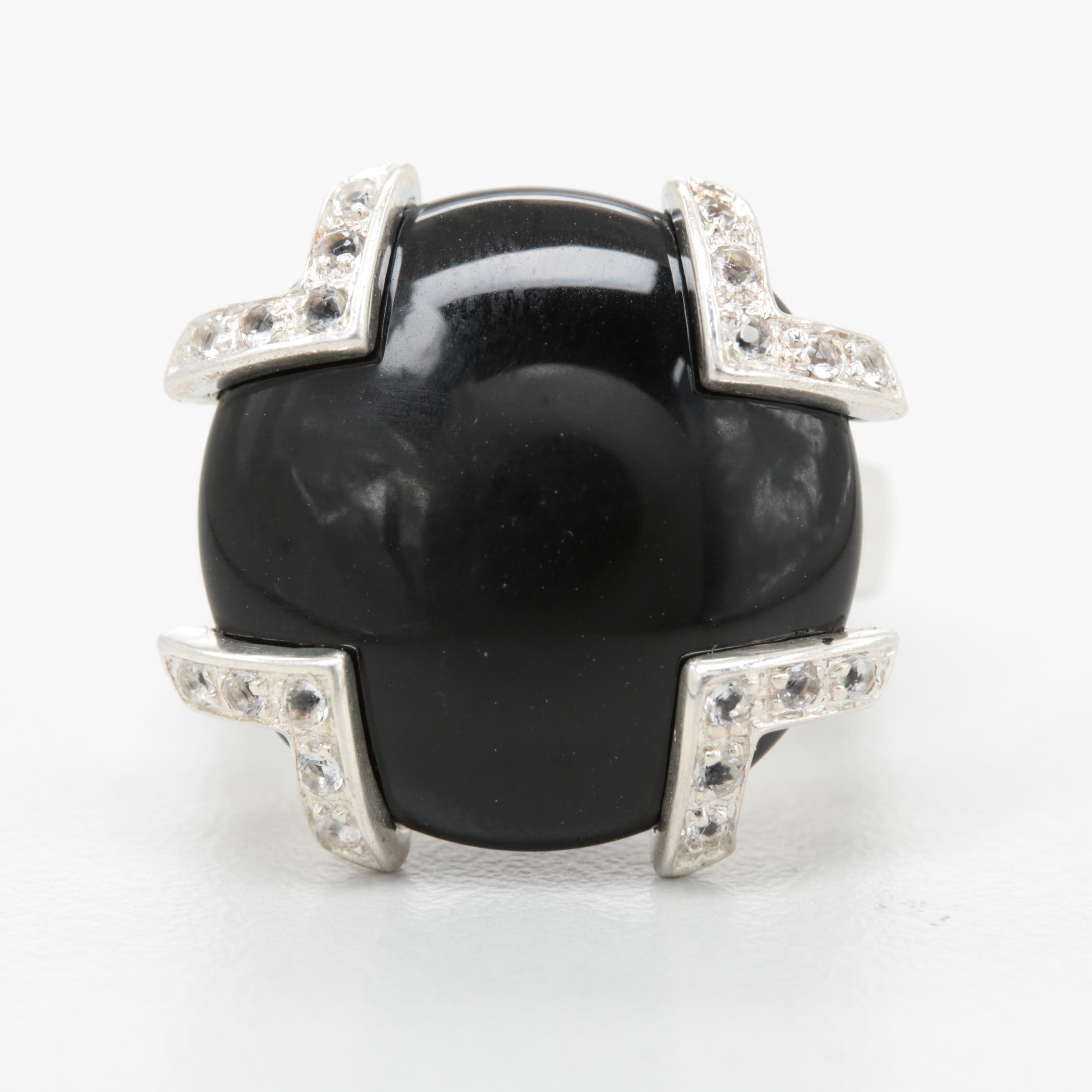 Sterling Silver Onyx and White Topaz Ring