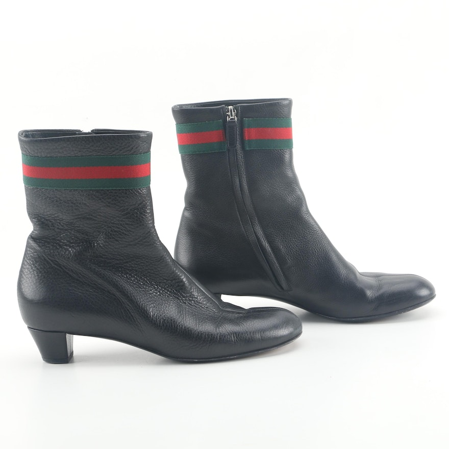 4e8d29b5ce8e Gucci Pebbled Black Leather Web Booties   EBTH