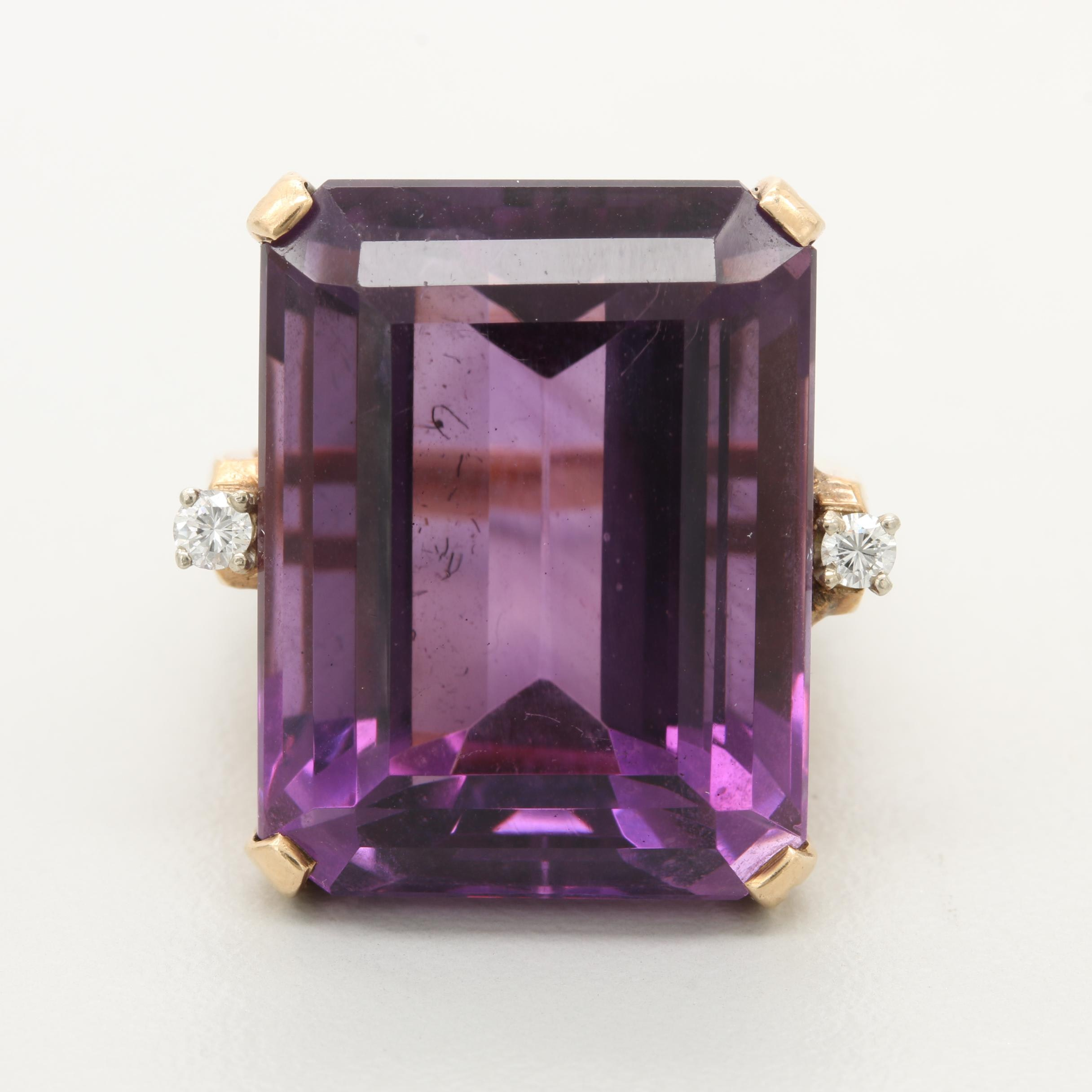 14K Yellow Gold 31.37 CT Amethyst and Diamond Ring
