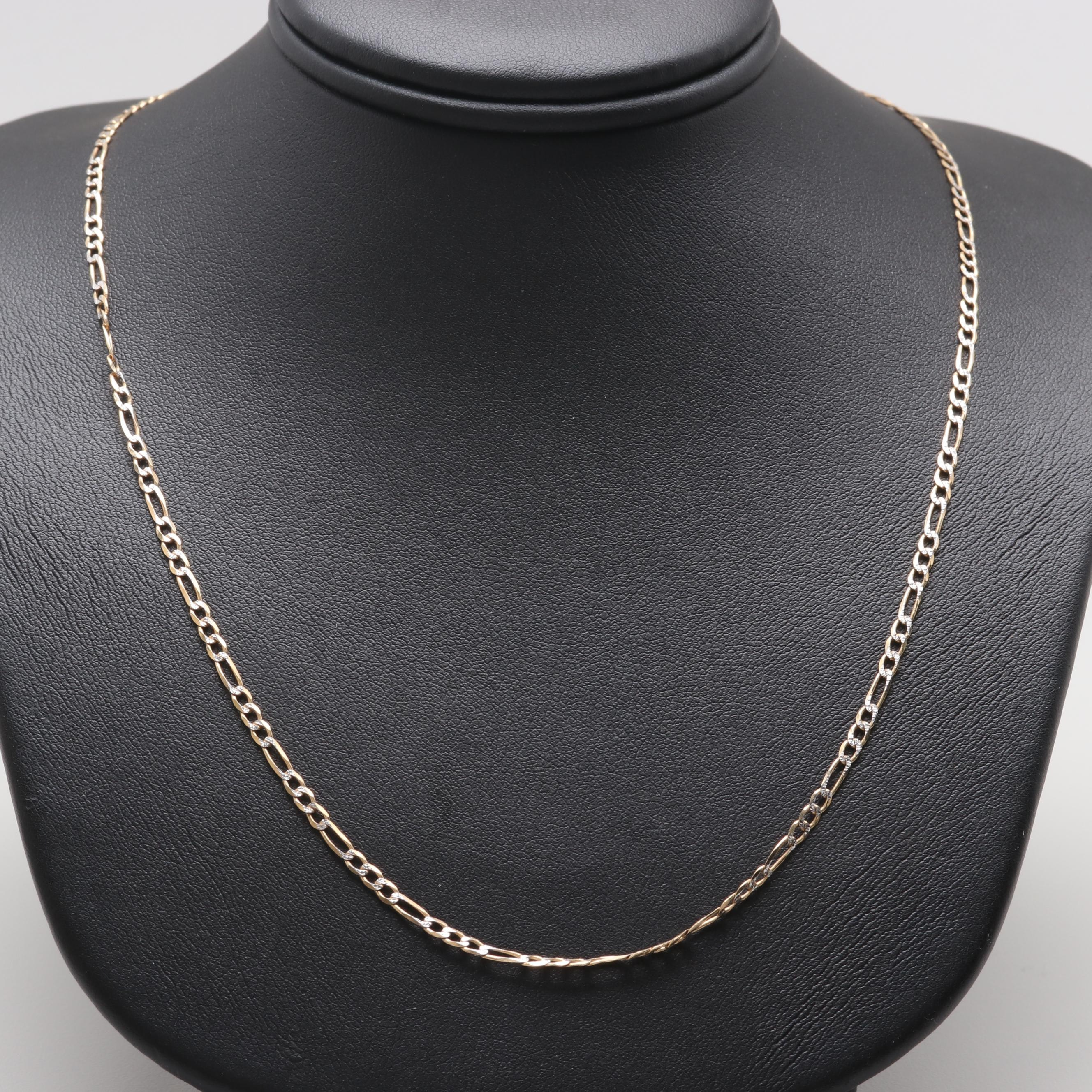 10K Yellow and White Gold Chain Necklace