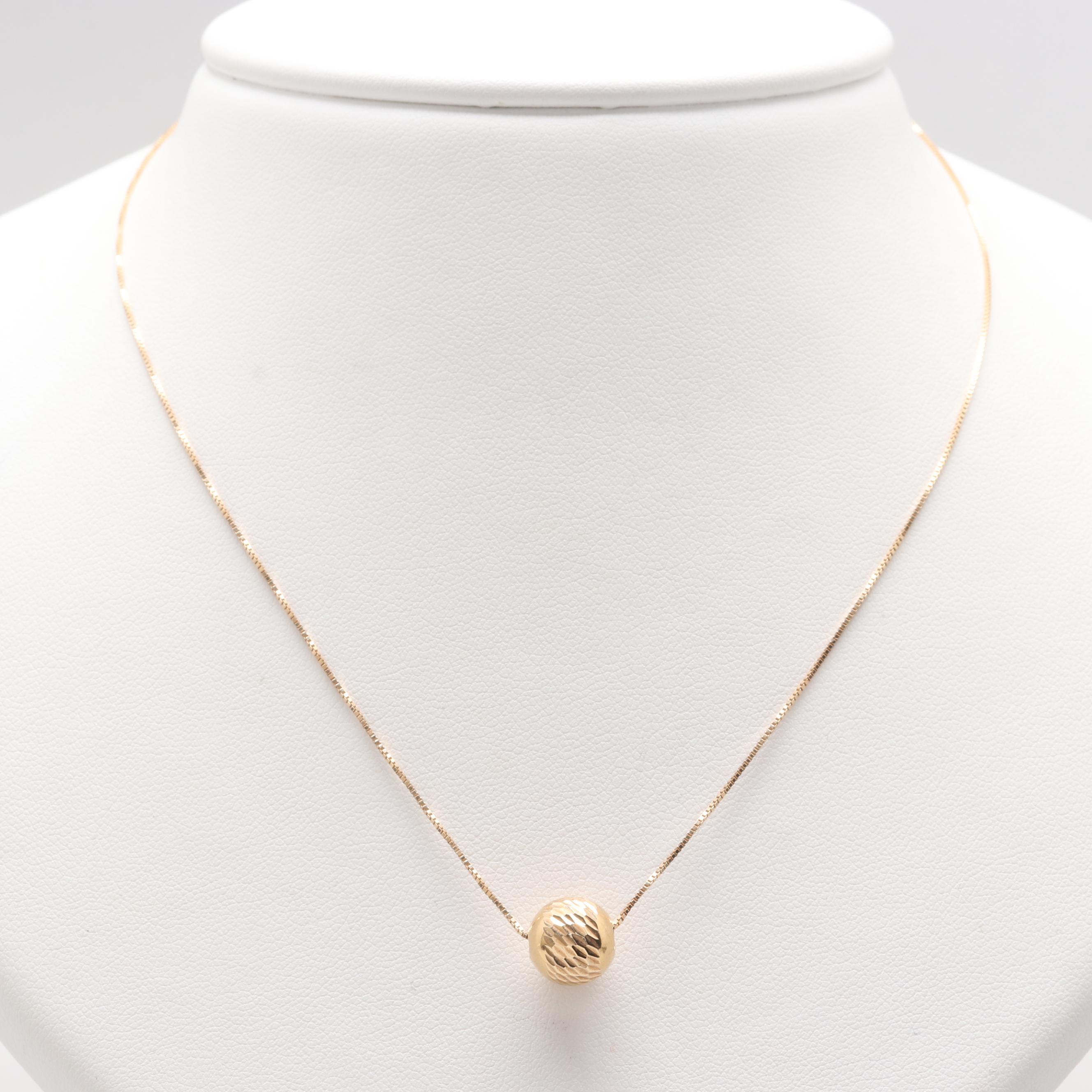Italian 14K Yellow Gold Spherical Pendant Necklace