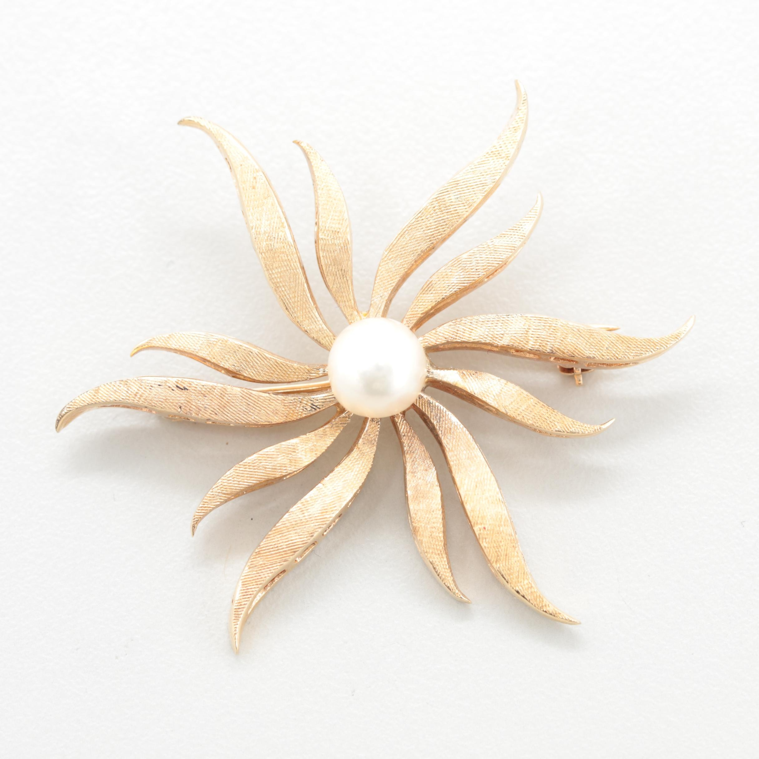 Circa 1950s - 1960s 14K Yellow Gold Cultured Pearl Brooch