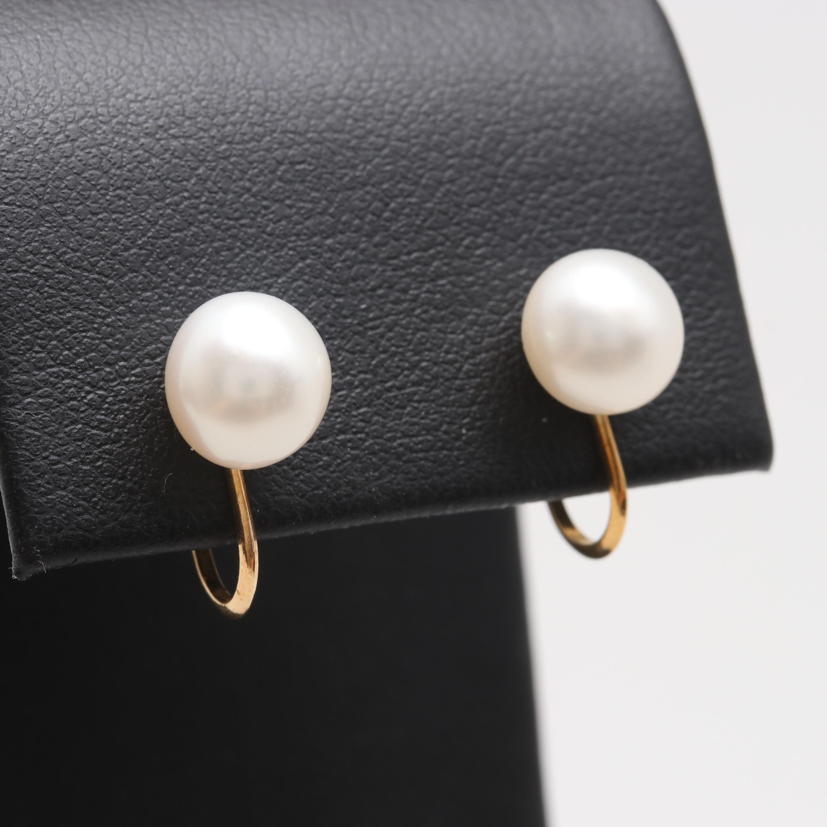 18K Yellow Gold Cultured Pearl Screw Back Earrings