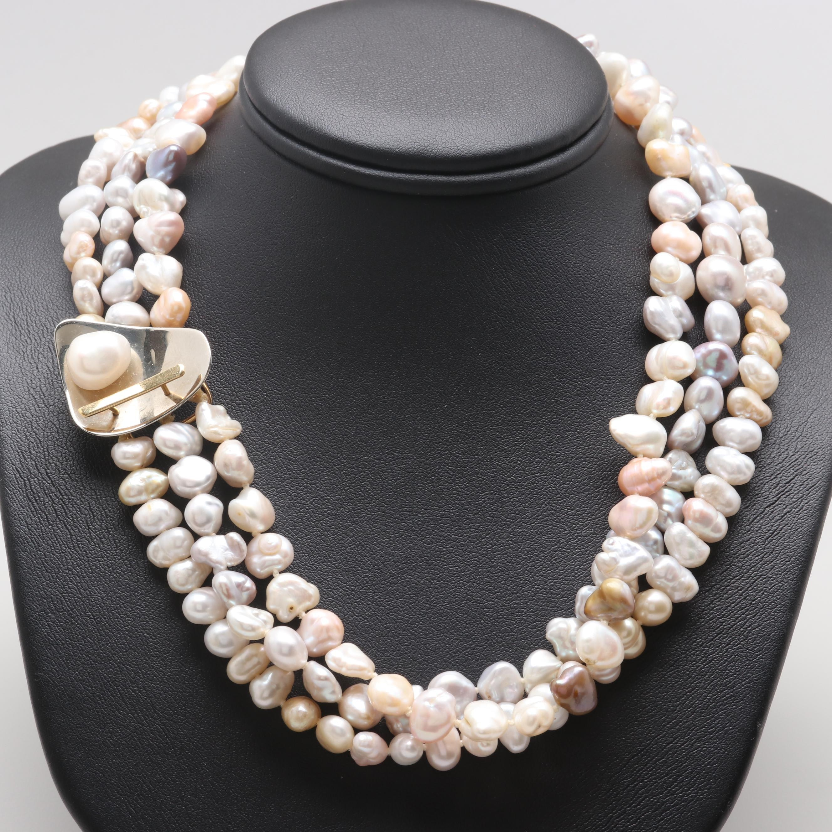 Circa 1982 Betsy Fuller 18K Gold Cultured Pearl Multi Strand Necklace