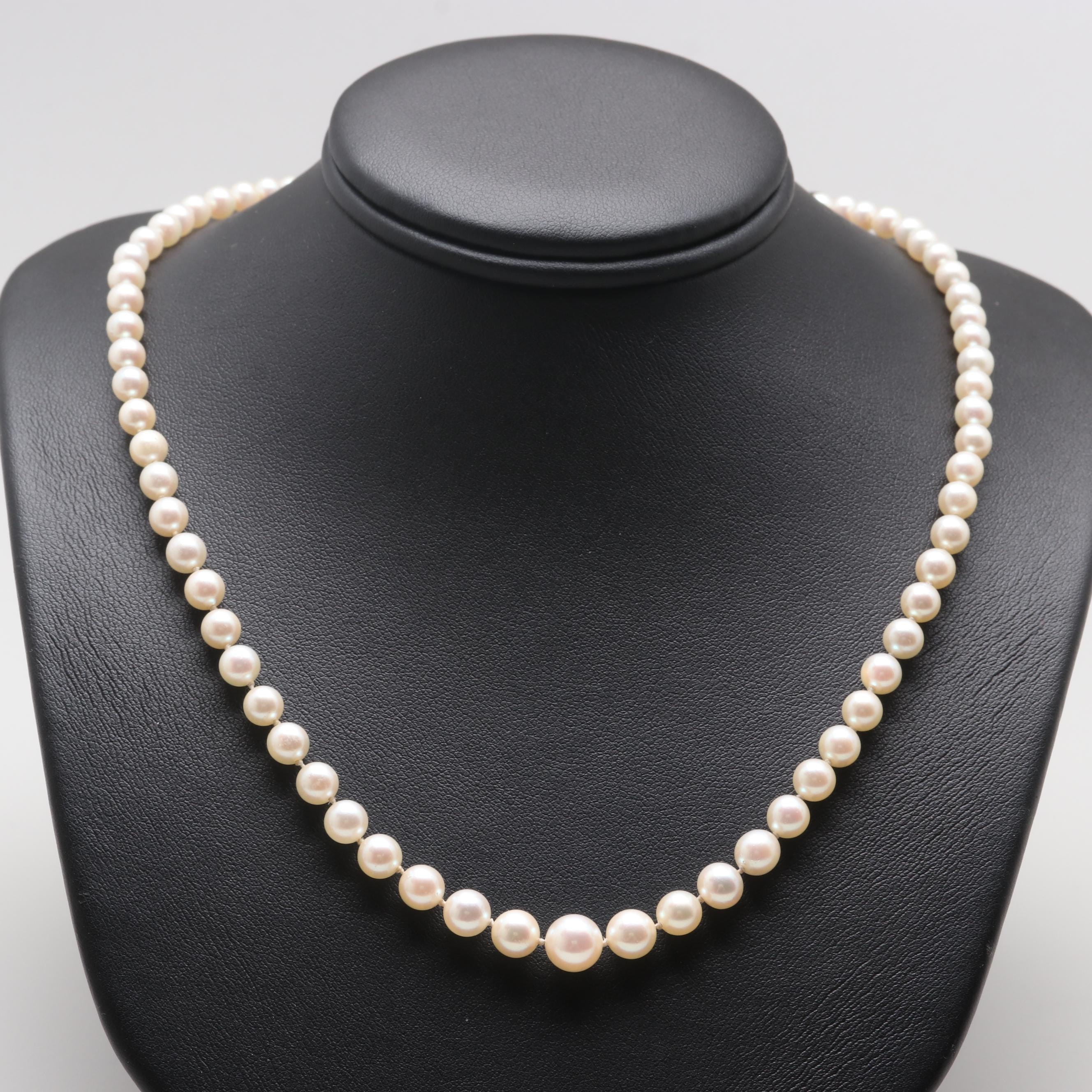 14K White Gold Cultured Pearl Beaded Necklace