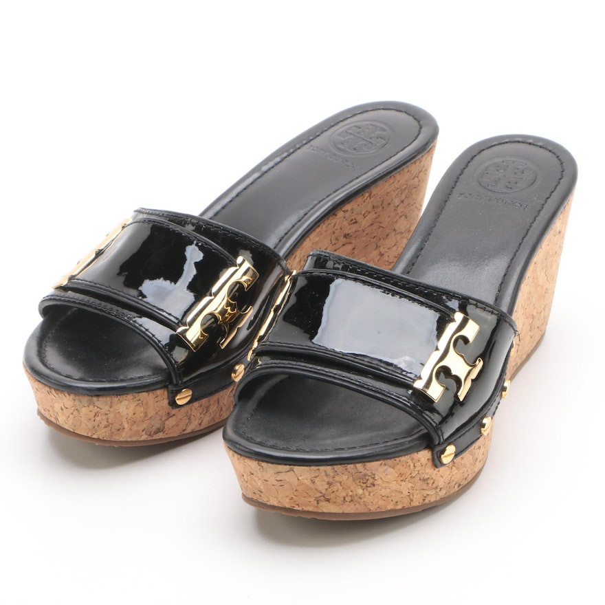 28de4f0c7a1d Tory Burch Black Patent Leather Slide Wedges   EBTH