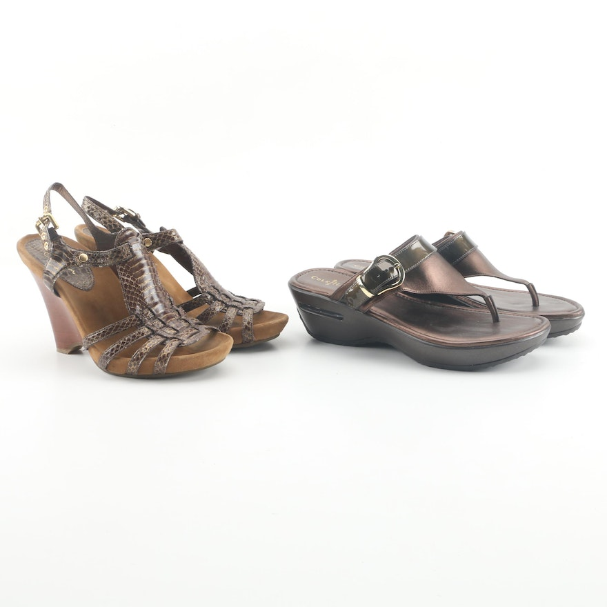 abb9a5df58f Cole Haan Brown Leather Sandals including Tia Embossed Leather Wedges ...