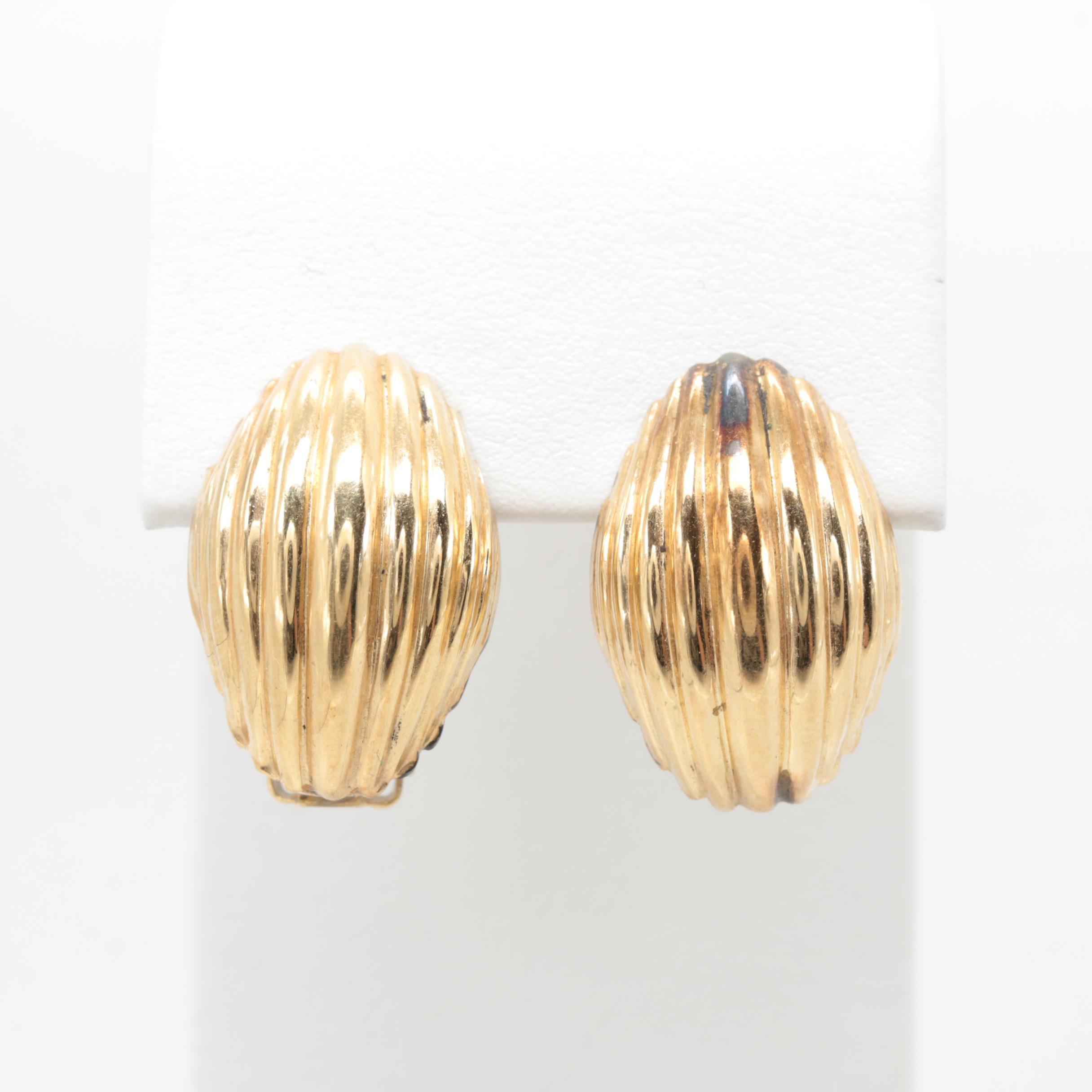 14K Yellow Gold Ribbed Omega Back Earrings