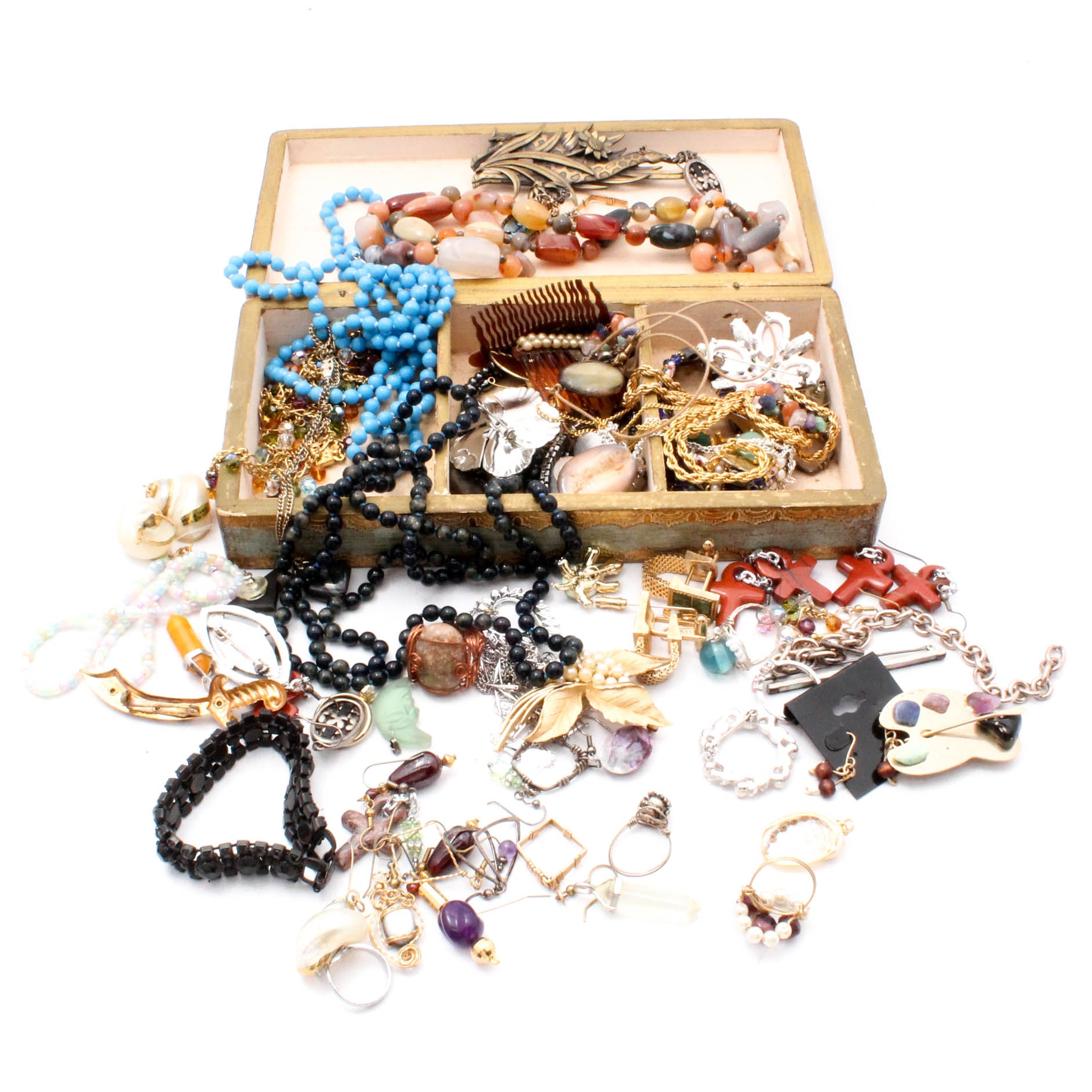 Costume Jewelry in Vintage Florentine Box