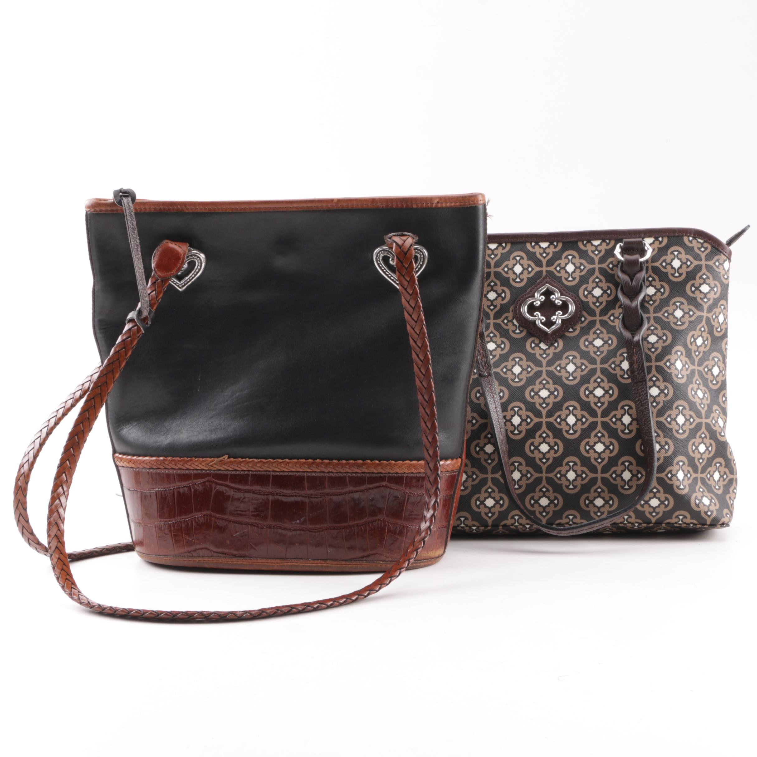 Brighton Black and Embossed Brown Leather and Patterned Coated Canvas Handbags