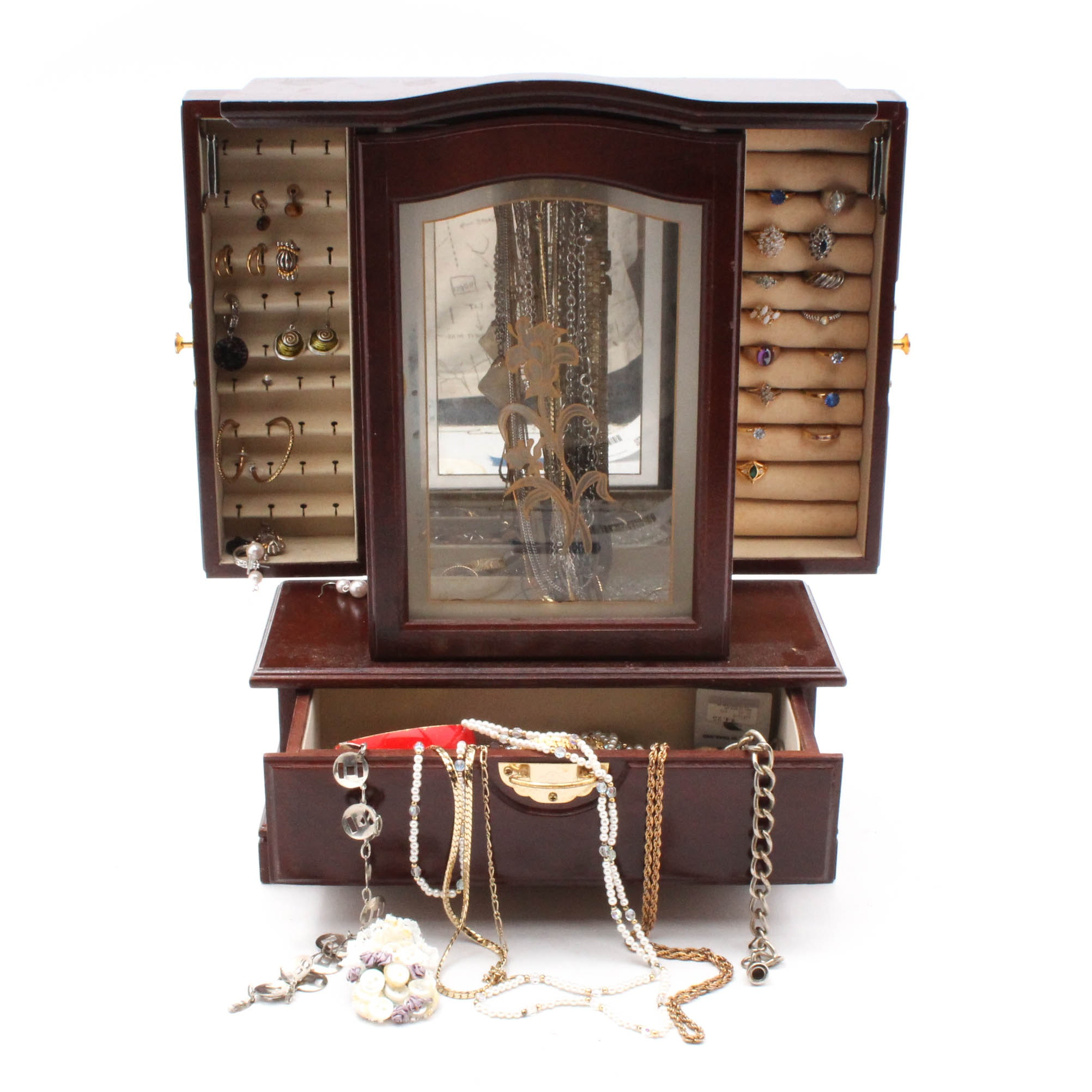 Vintage Jewelry in Armoire Style Box